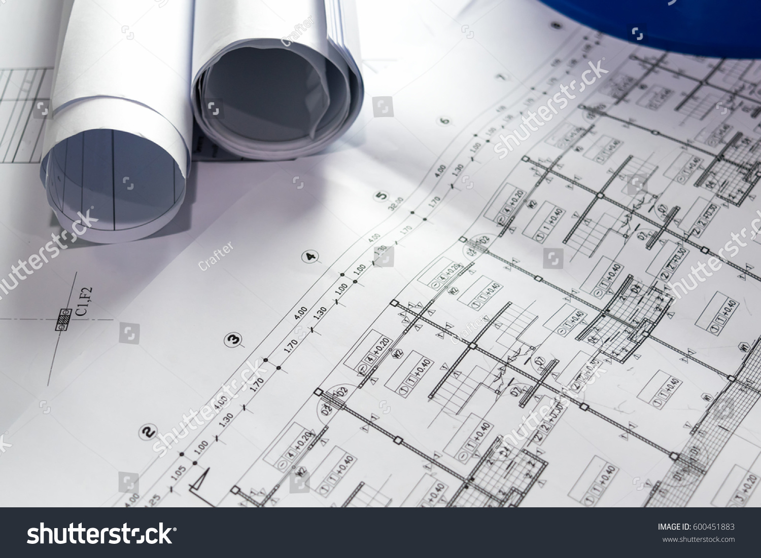 Engineering diagram blueprint paper drafting project stock photo engineering diagram blueprint paper drafting project sketch architecturalselective focus malvernweather Image collections