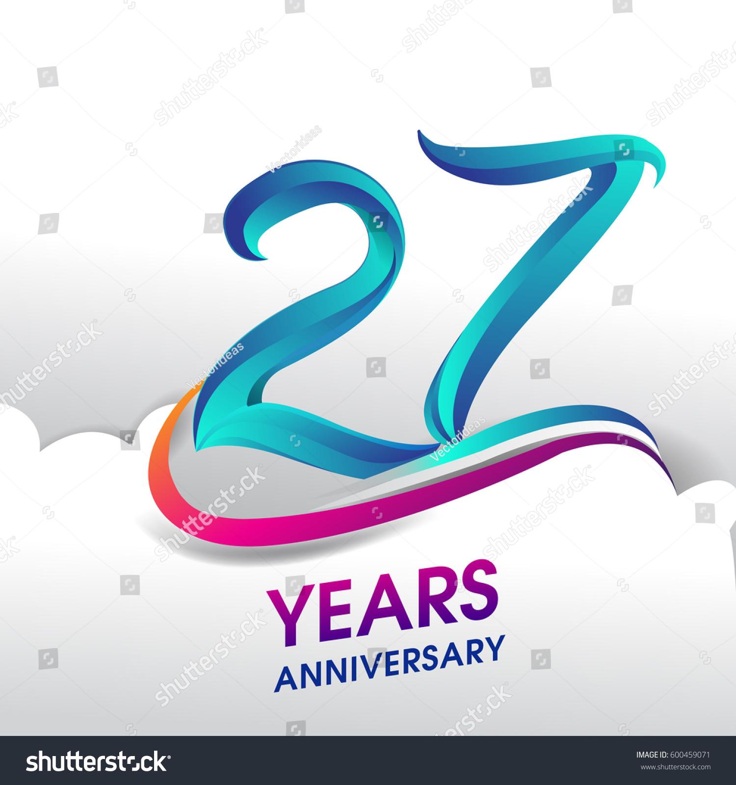 27 Years Anniversary Celebration Logo Birthday Stock
