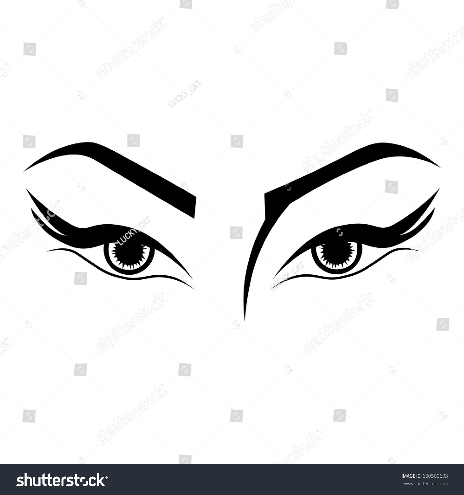 Illustration Outline Sketch Womans Eyes Tattoo Stock Vector Royalty
