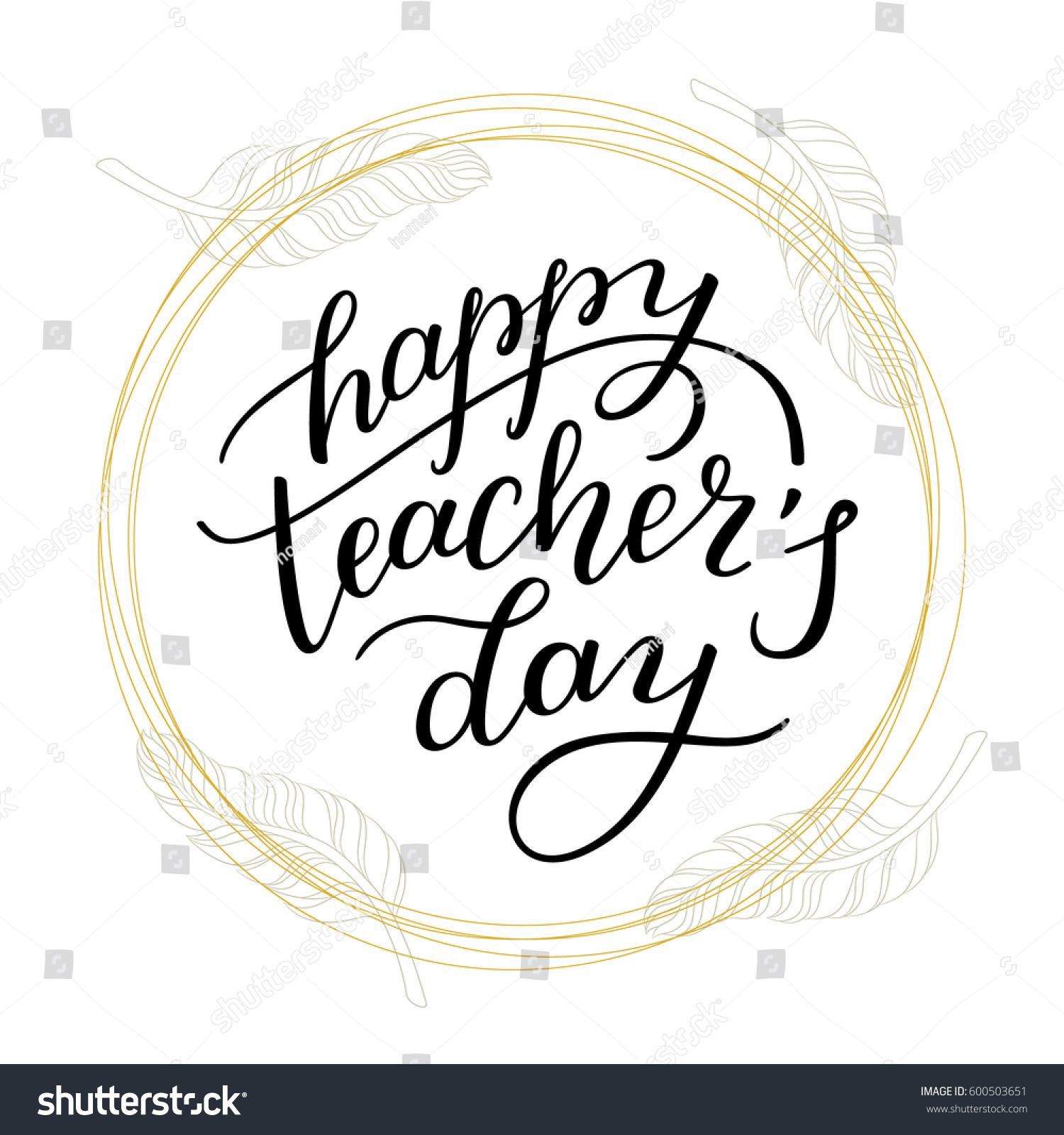 Happy Teachers Day Hand Lettering Feathers Stock Vector Royalty