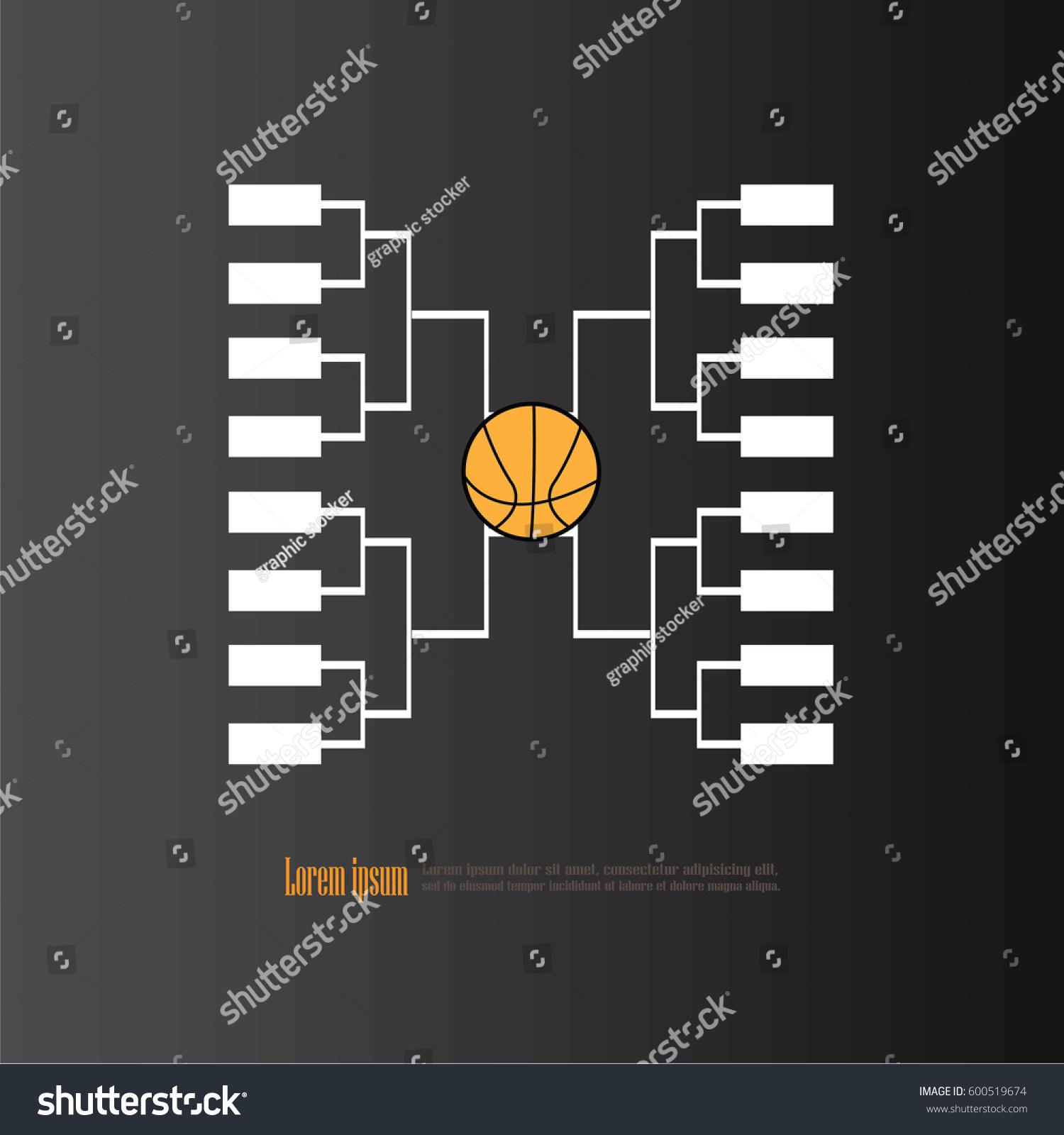Blank Basketball Tournament Bracket On Chalkboardvector Stock Vector