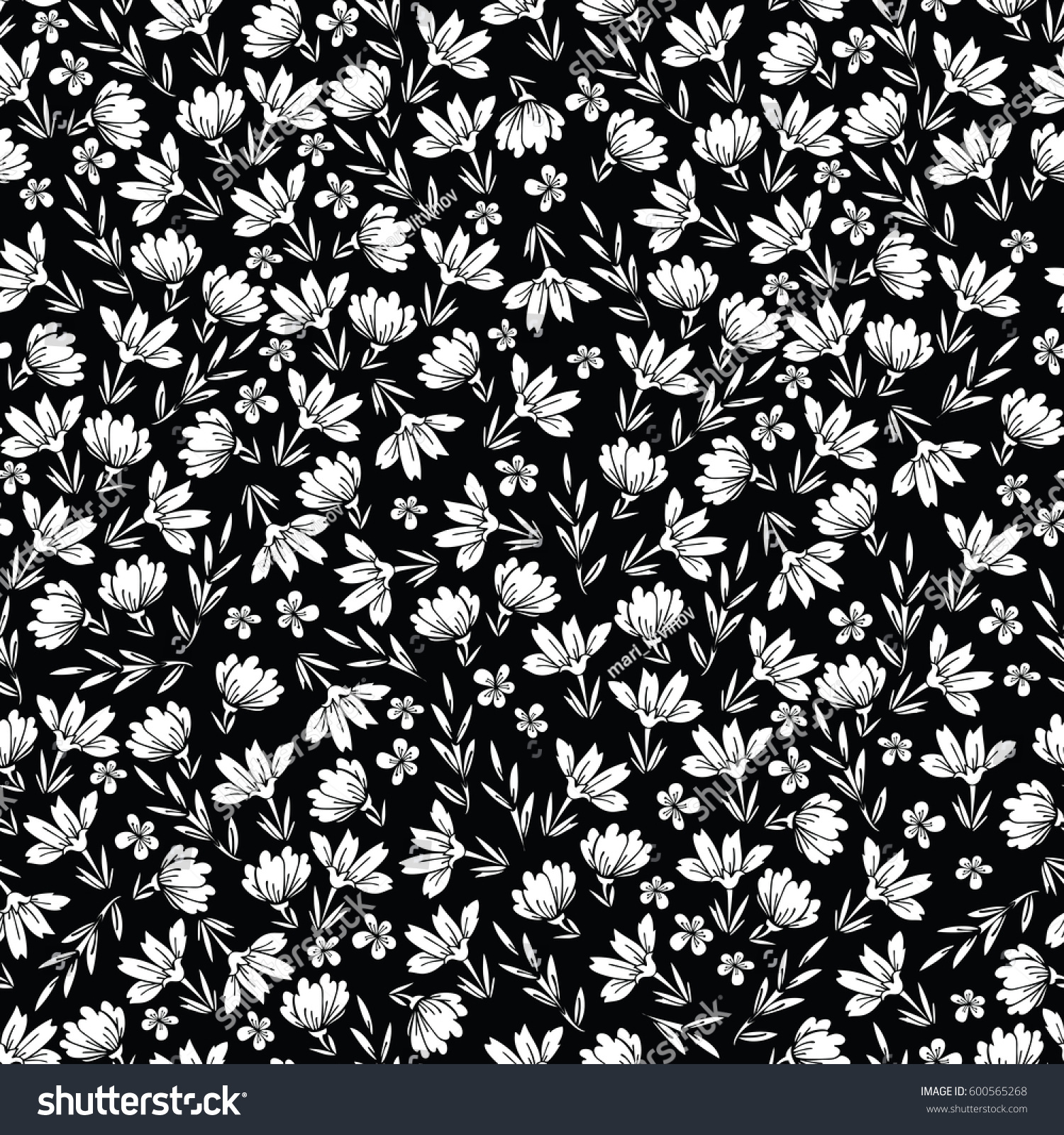 Floral Seamless Pattern Of Small Flowers In White And Black Cute