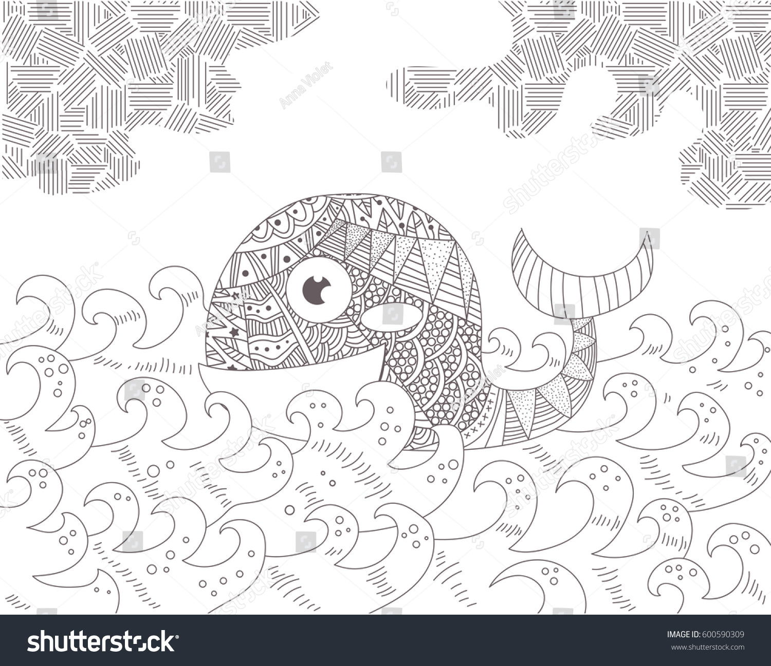 Zen ocean colouring book - Whale In The Ocean Waves Silhouette Black Illustration On White Background Zentangle