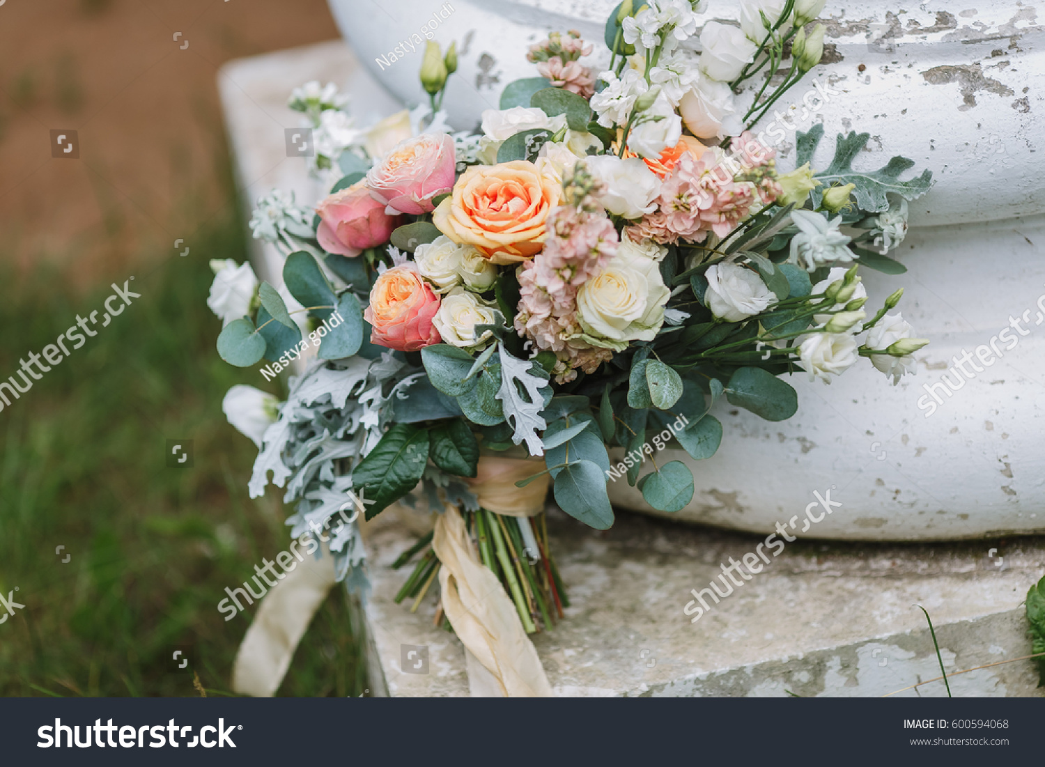 Beautiful Wedding Bouquet Rose Pink Green Stock Photo Edit Now