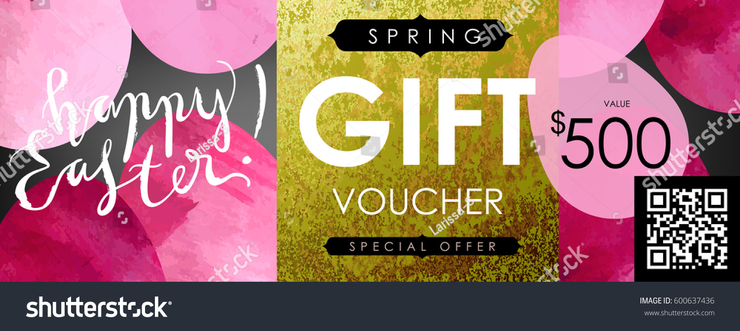 Gift certificate voucher coupon template festive stock vector 2018 gift certificate voucher coupon template with festive eggs and shabby gold texture spring negle Images