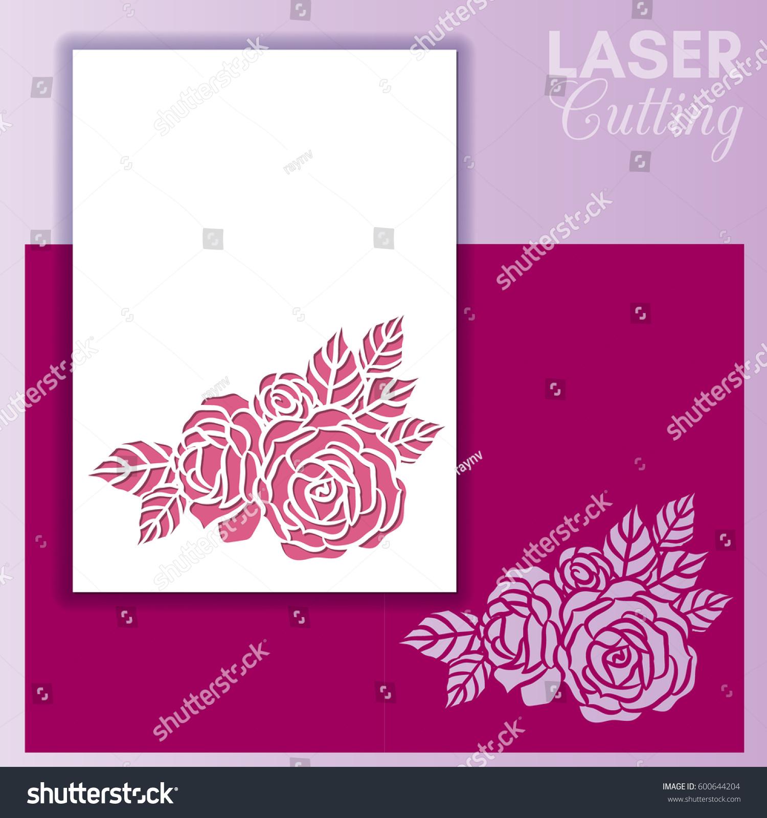 Laser cut wedding invitation greeting card stock vector hd royalty laser cut wedding invitation or greeting card with roses invitation envelope mock up for laser m4hsunfo