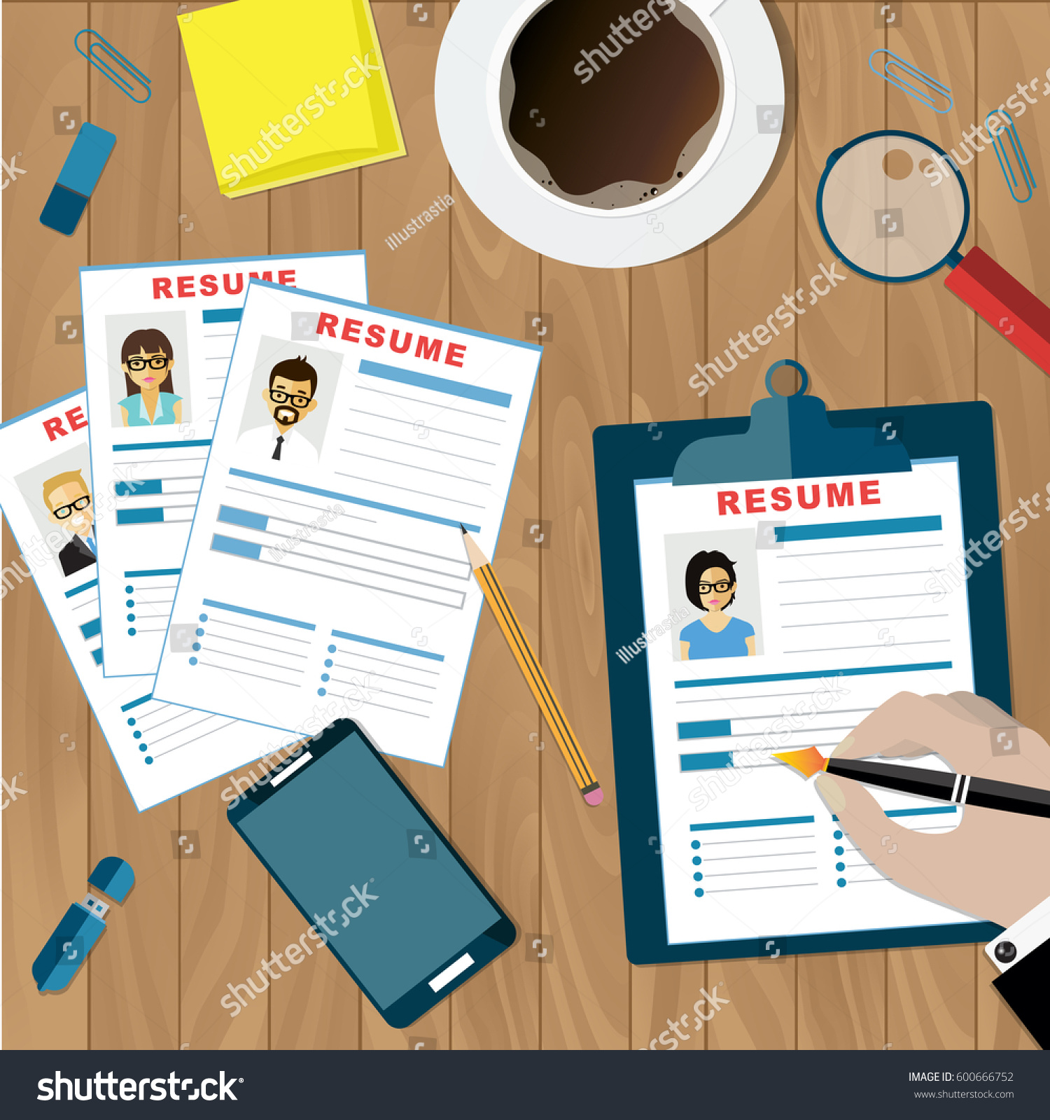 human resources management concept analyzing resume stock vector