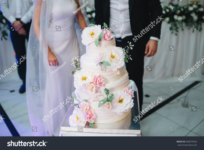 Gorgeous Wedding Cake Decorated Pink Stock