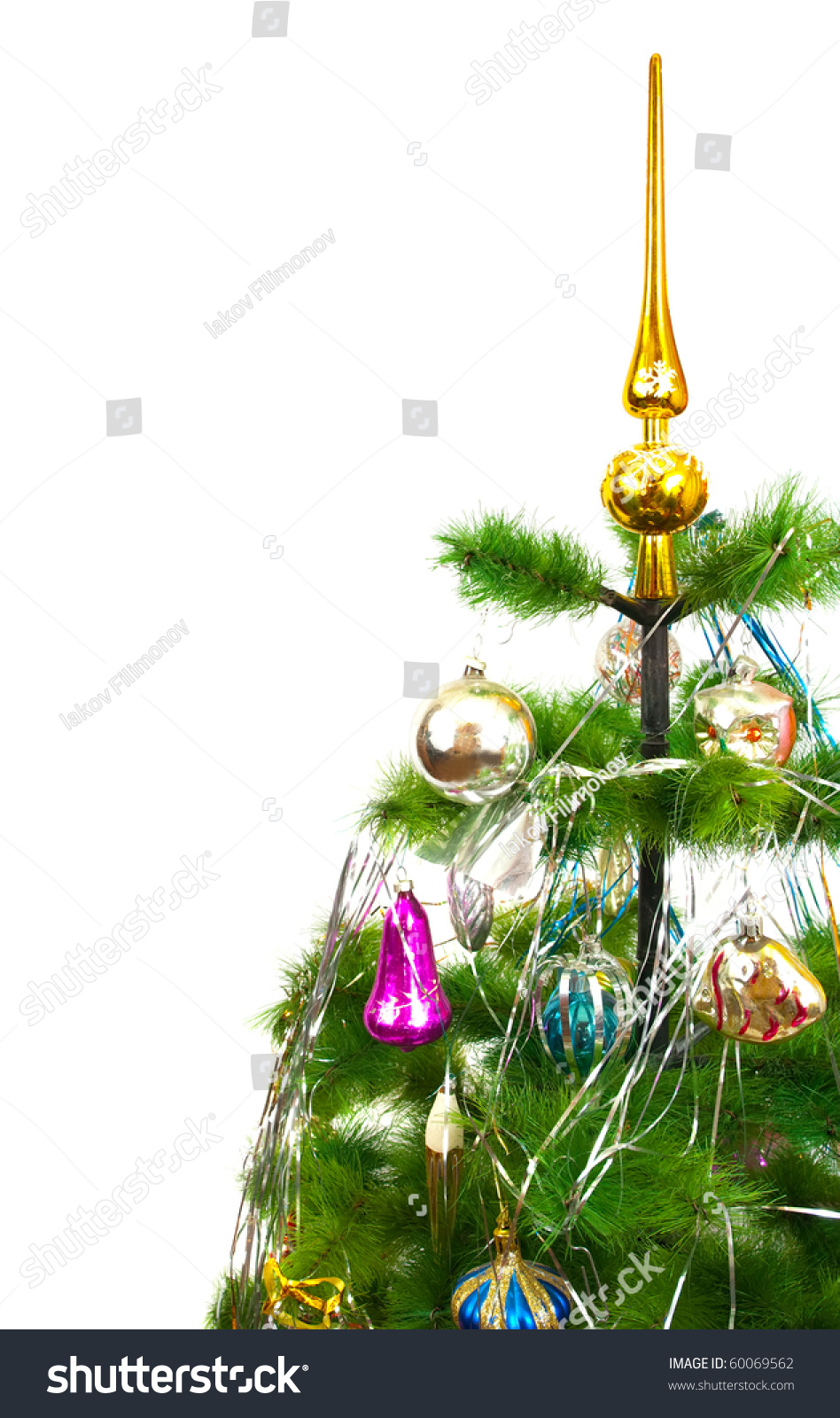Part of christmas fir tree with festive balls on white