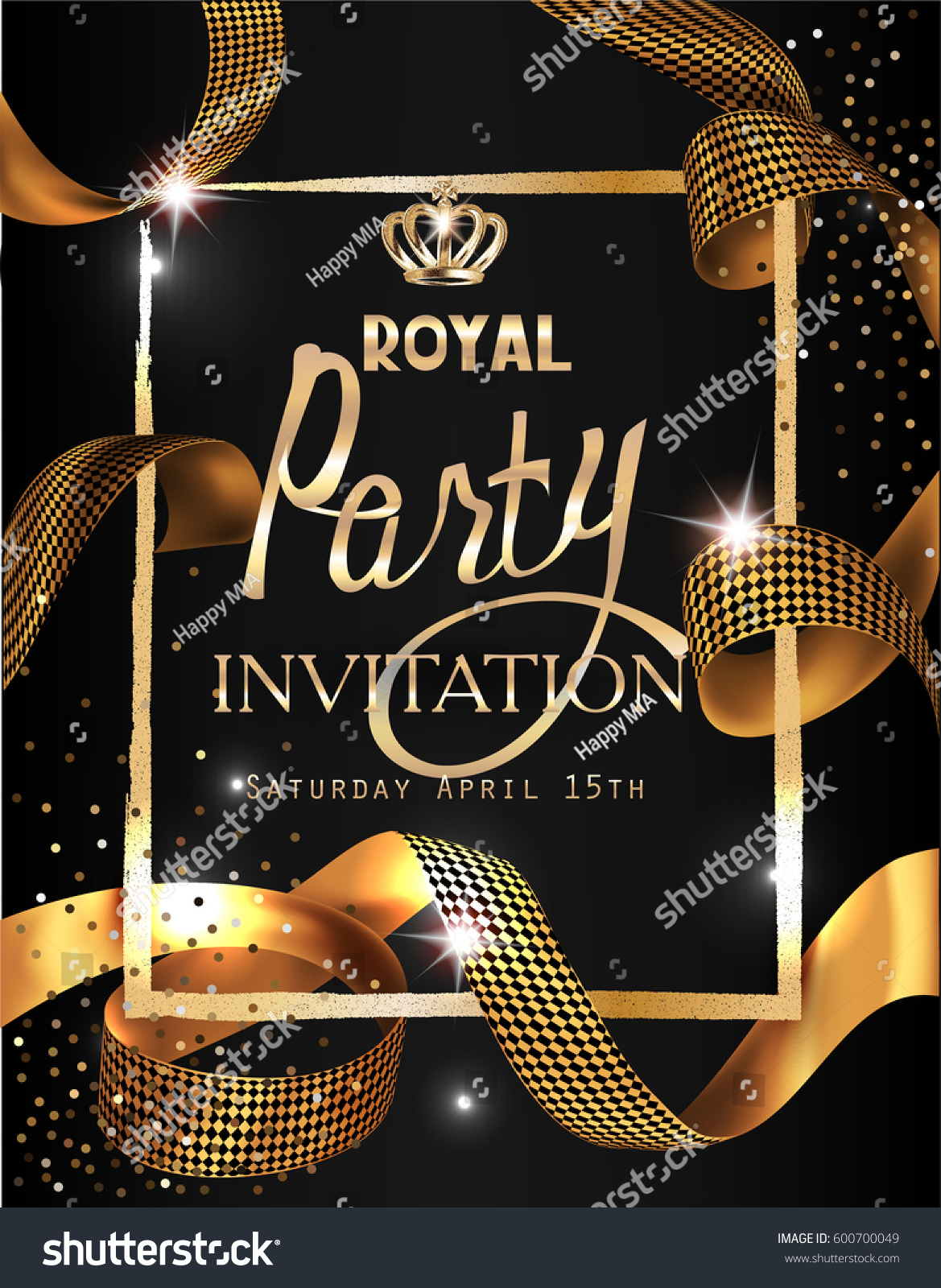 Royal party invitation card gold curly stock vector 600700049 royal party invitation card with gold curly ribbon textured frame and crown vector illustration stopboris Images