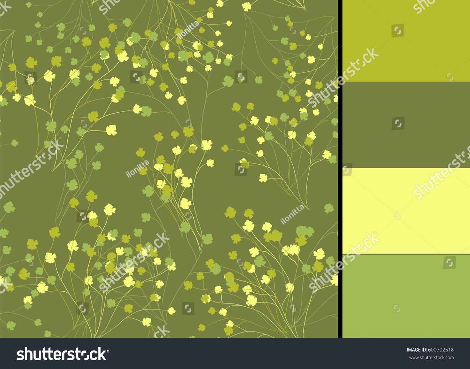 Seamless Pattern Greenery Vector Floral Branches Stock Vector ...