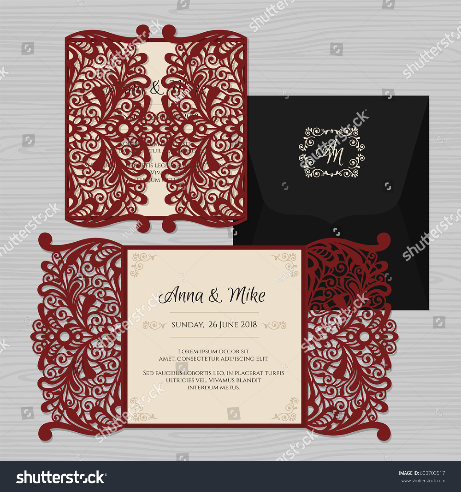 Wedding Invitation Greeting Card Vintage Ornament Stock Vector ...