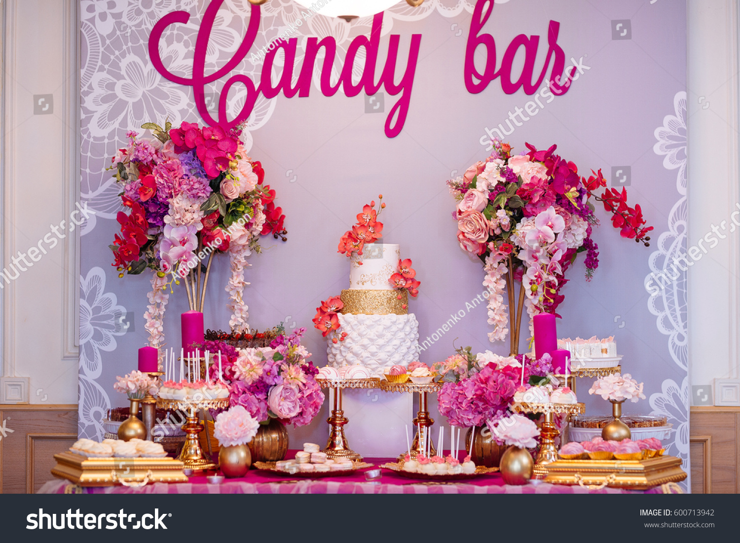 Candy Bar Pink Shades Wedding Pink Stock Photo (Edit Now) 600713942 ...