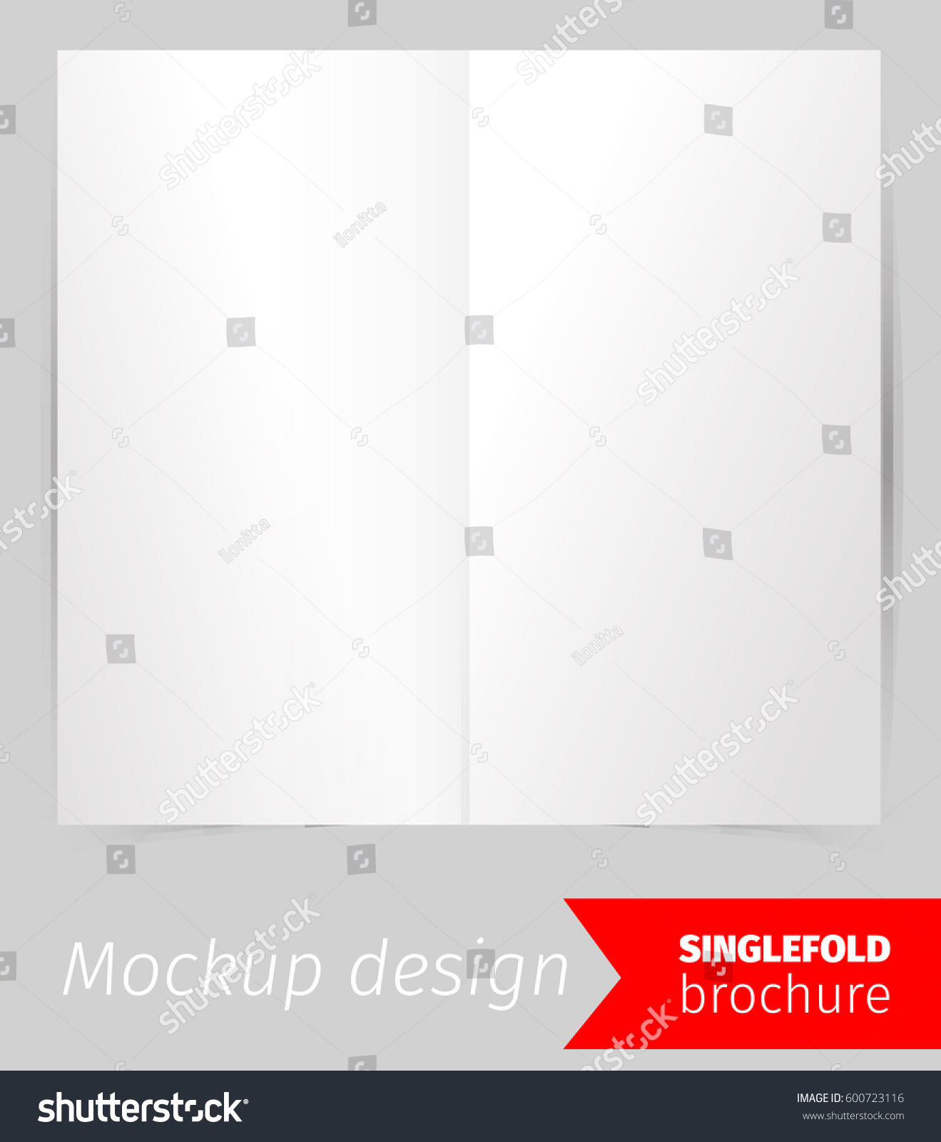 single fold brochure mockup design blank stock vector 600723116