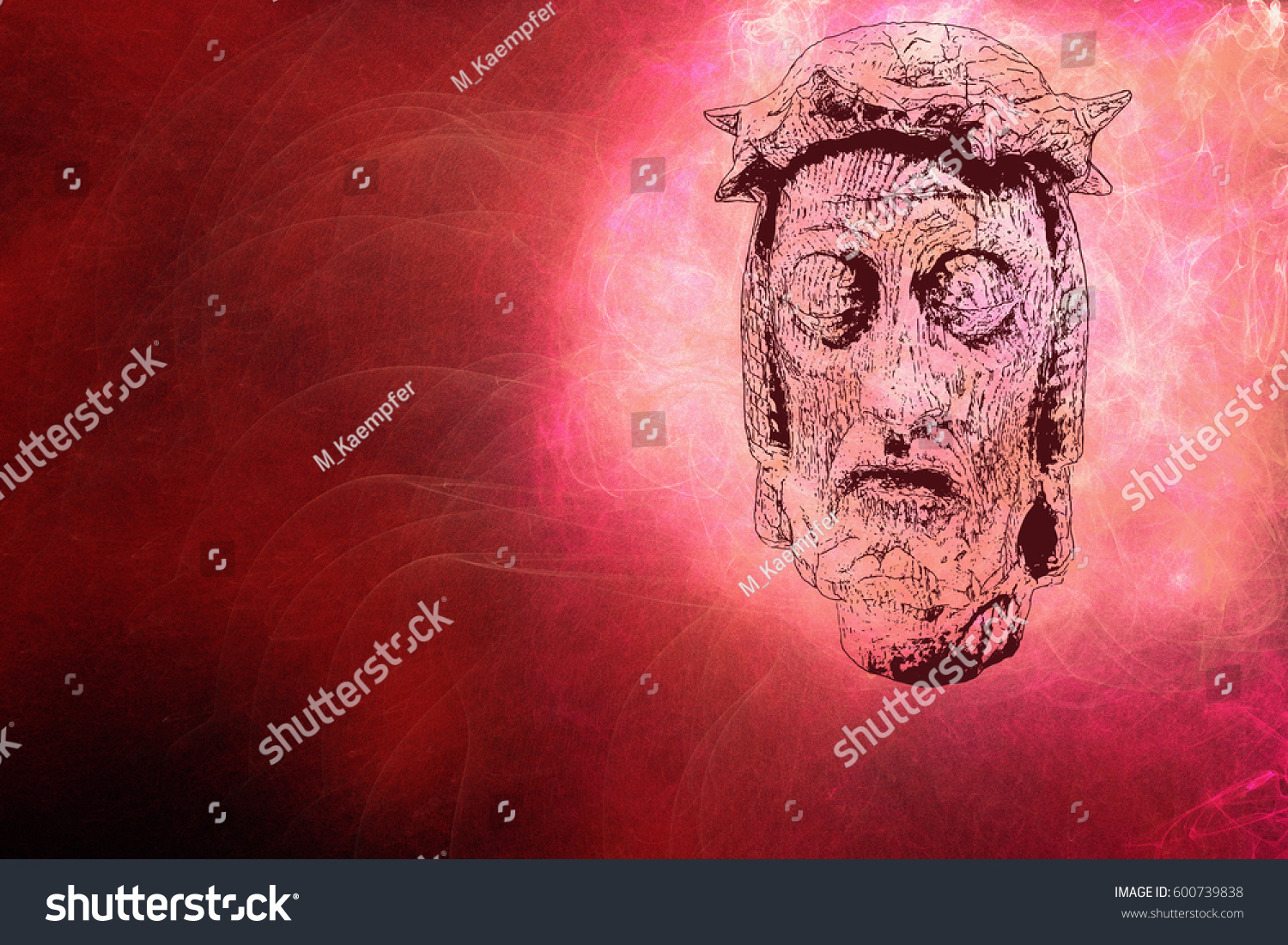 Head Jesus Christ Front Abstract Background Stock Illustration ...