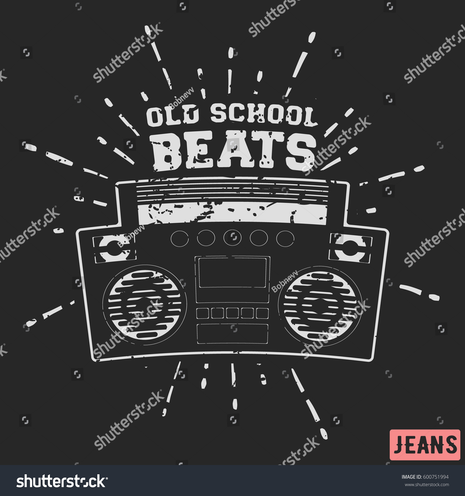 Design t shirt label - T Shirt Print Design Ghetto Blaster Vintage Stamp Printing And Badge Applique Label