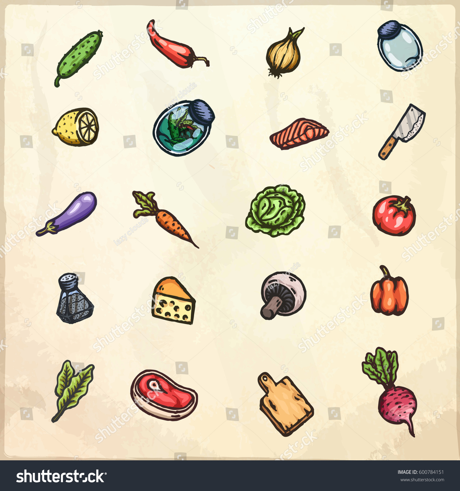 set hand drawn cartoon images food stock vector 600784151
