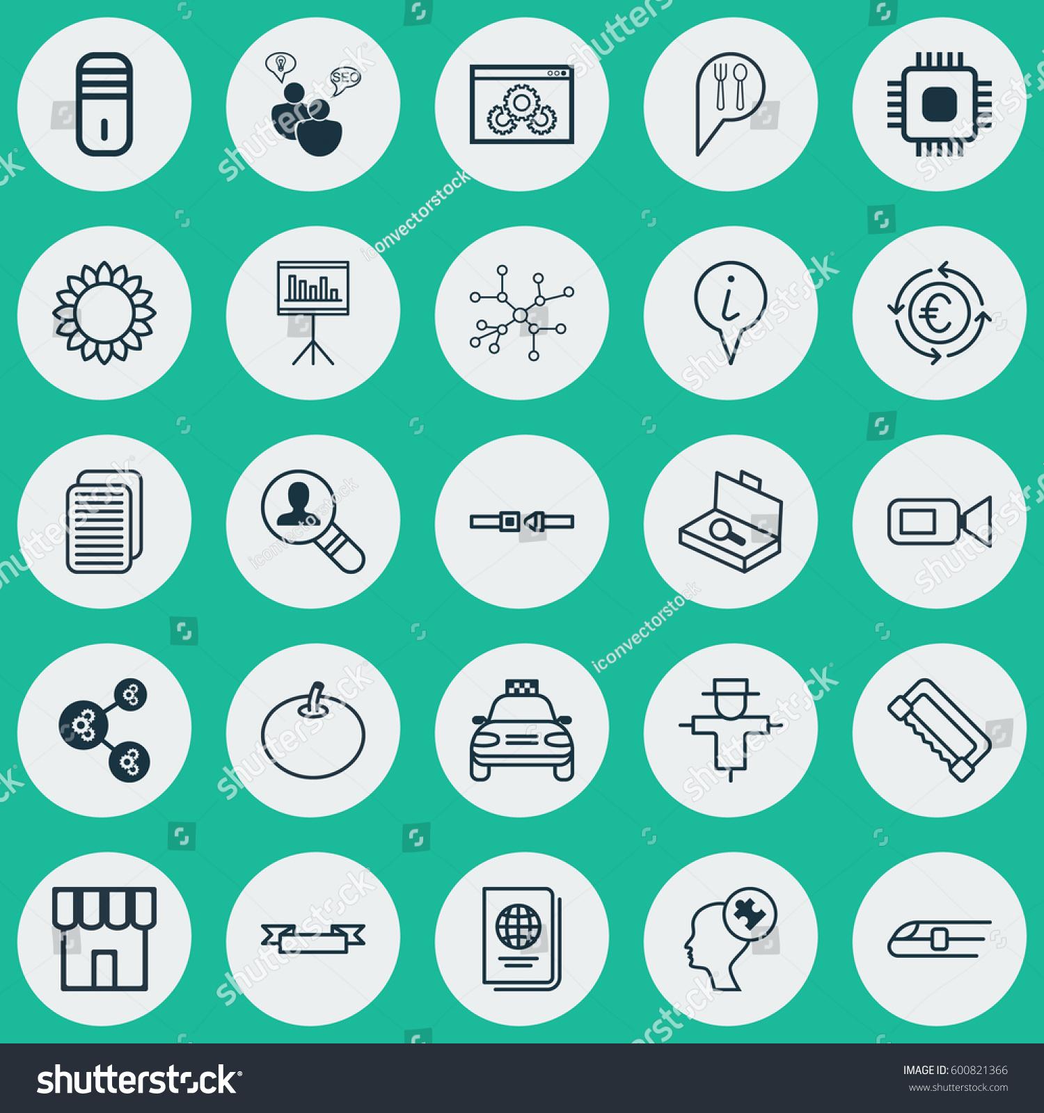 Set 25 Universal Editable Icons Can Stock Vector (Royalty