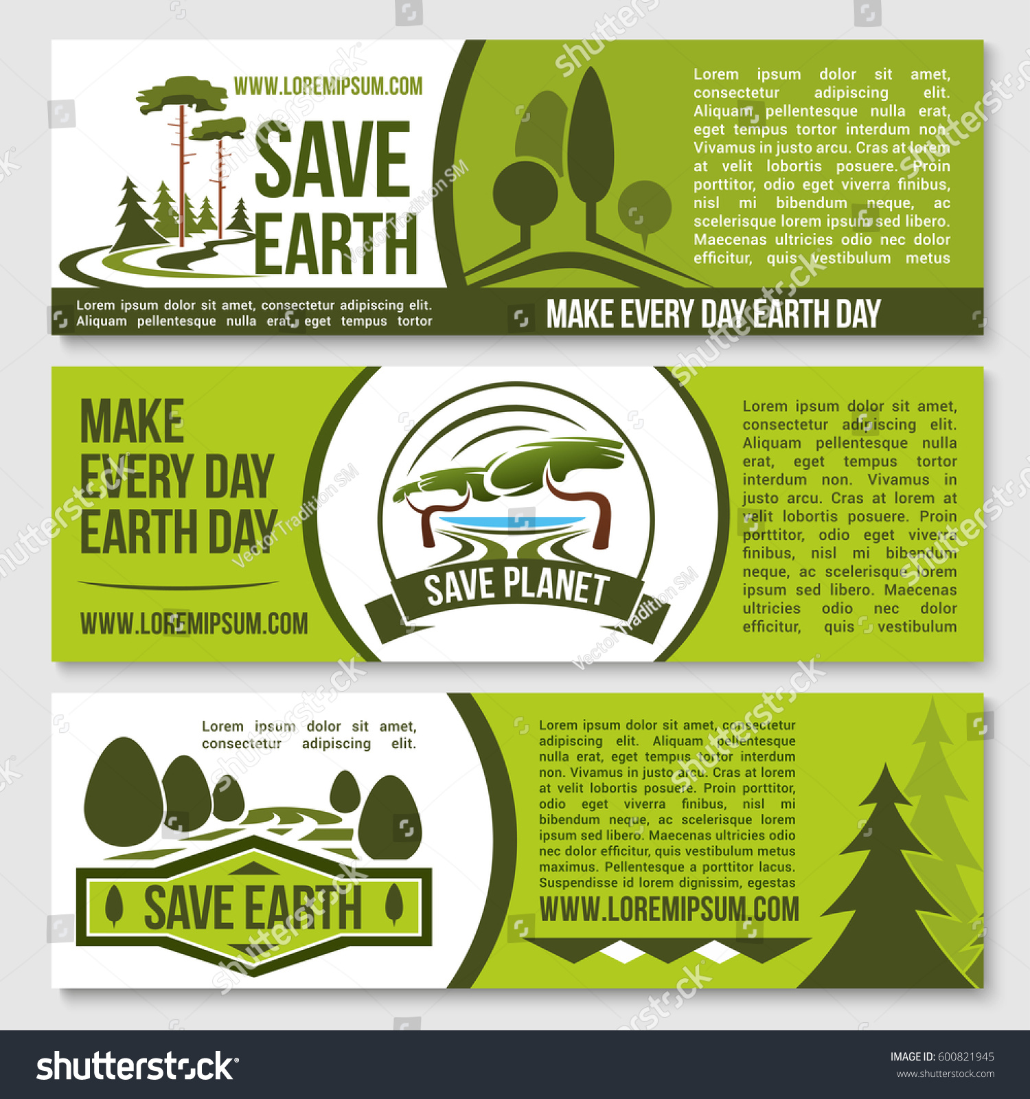 save earth ecology concept banners planet stock vector 600821945