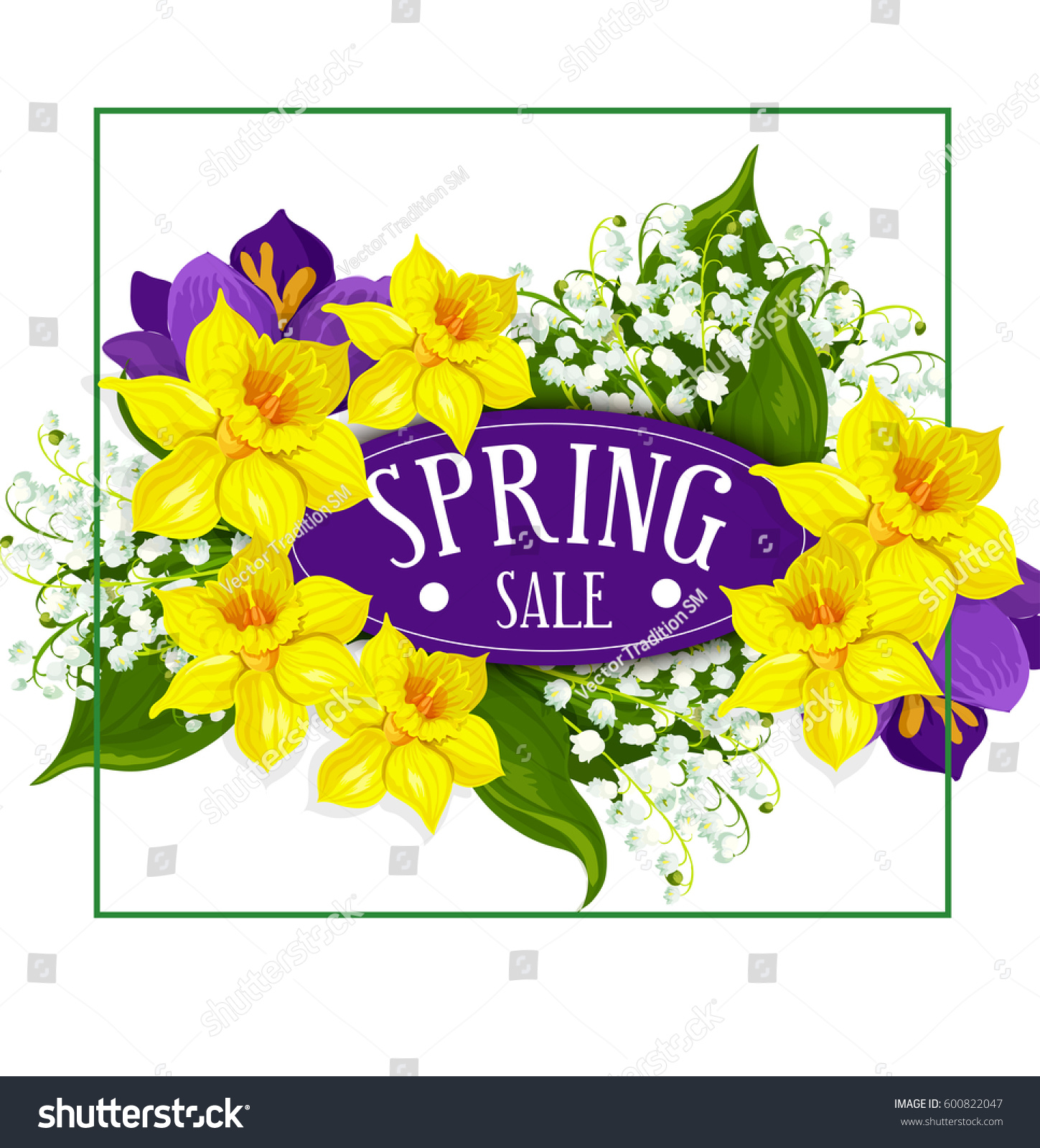 Spring sale poster daffodils yellow flowers stock photo photo spring sale poster of daffodils yellow flowers bouquet and springtime lily of valley and blue crocuses izmirmasajfo
