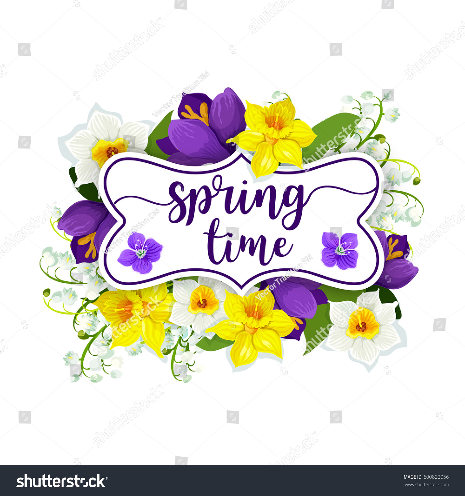 Spring Time Daffodils Crocuses Narcissus Lily Stock Vector Royalty