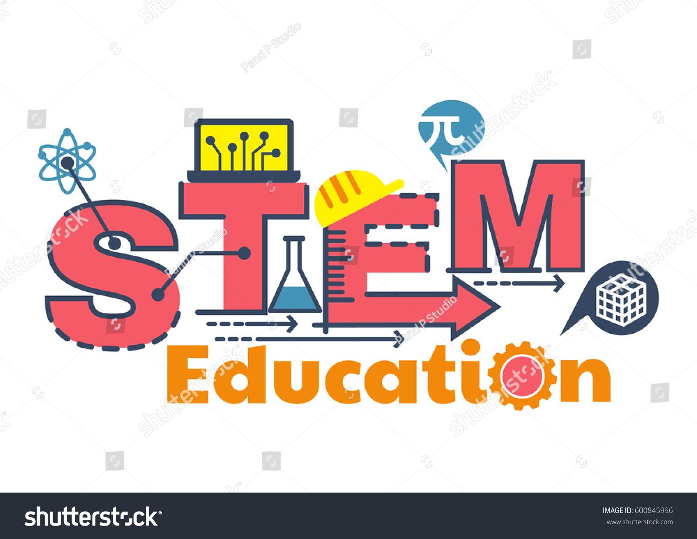 illustration stem education word typography design stock vector 600845996 shutterstock