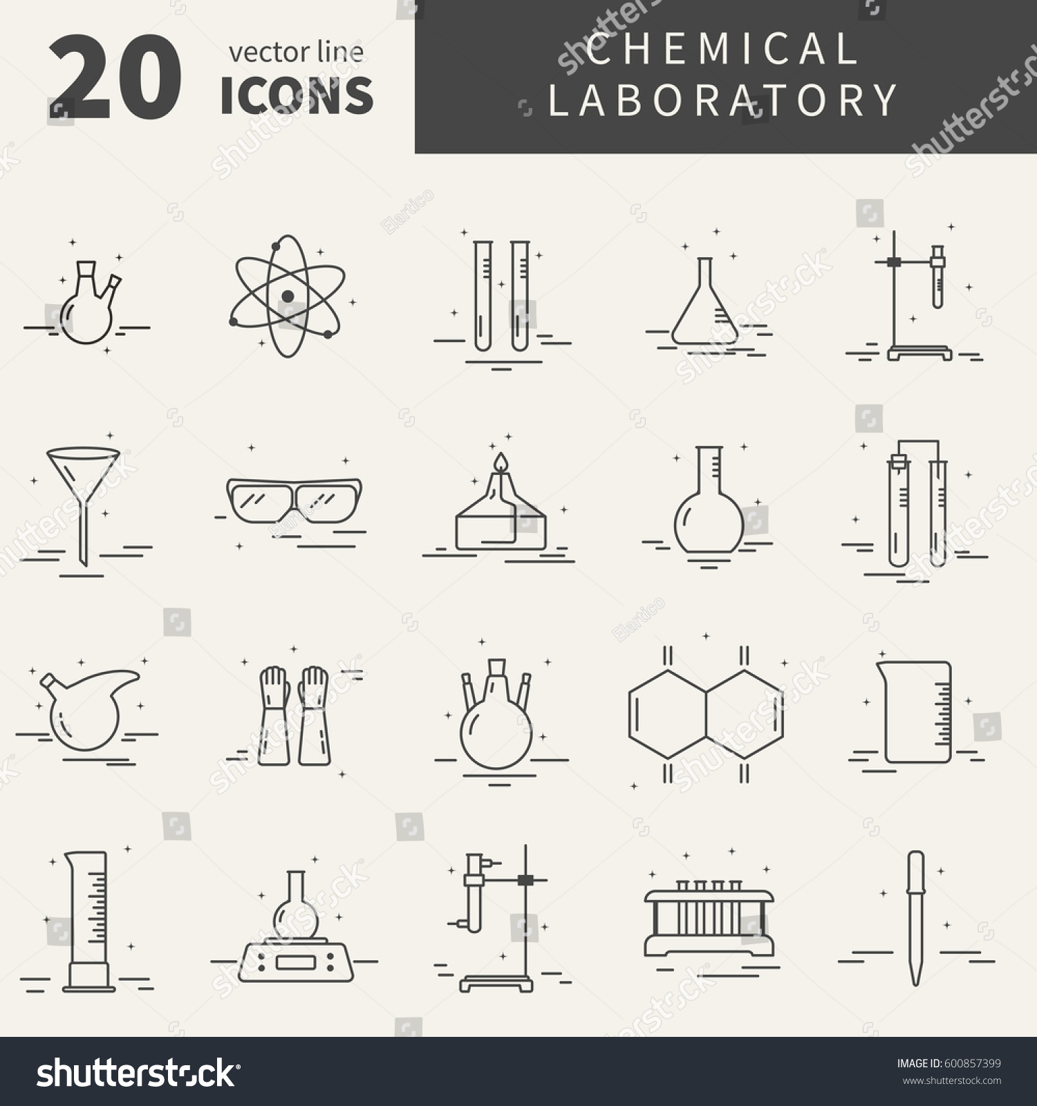 Collection line vector icons different symbols stock vector collection of line vector icons with different symbols of chemical laboratory equipment graphic design elements buycottarizona