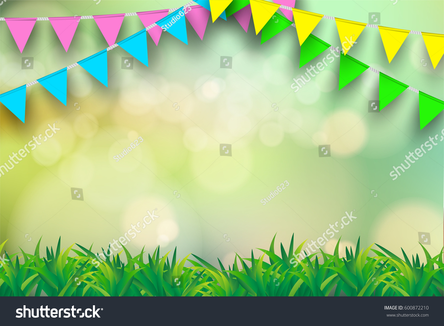 Vector bunting flags lovely celebration card with colorful paper - Bunting Flag On Green Bokeh Backgroundtemplate Stock Vector