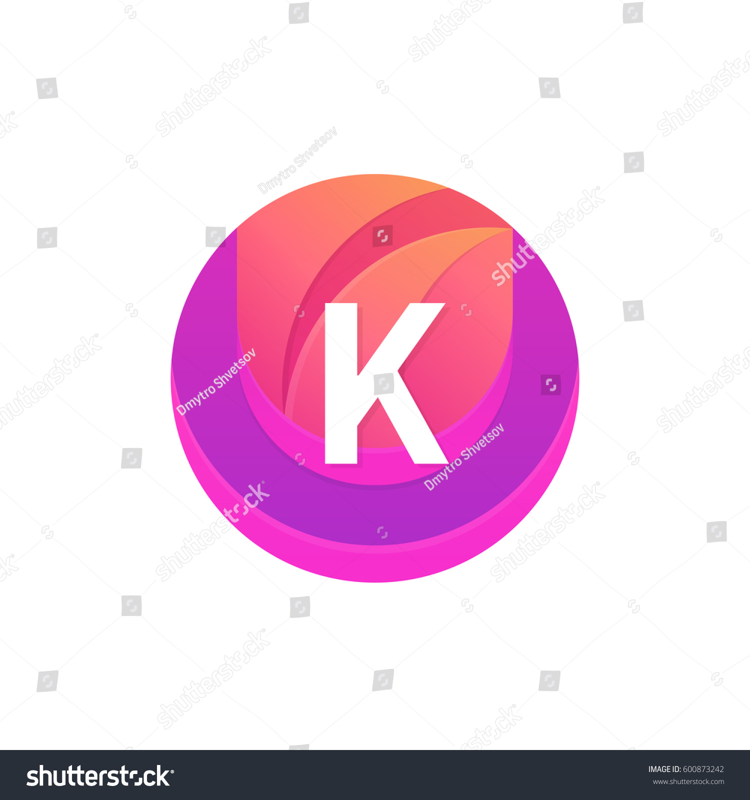 Letter K Logo Abstract Circle Shape Stock Vector (Royalty Free ...