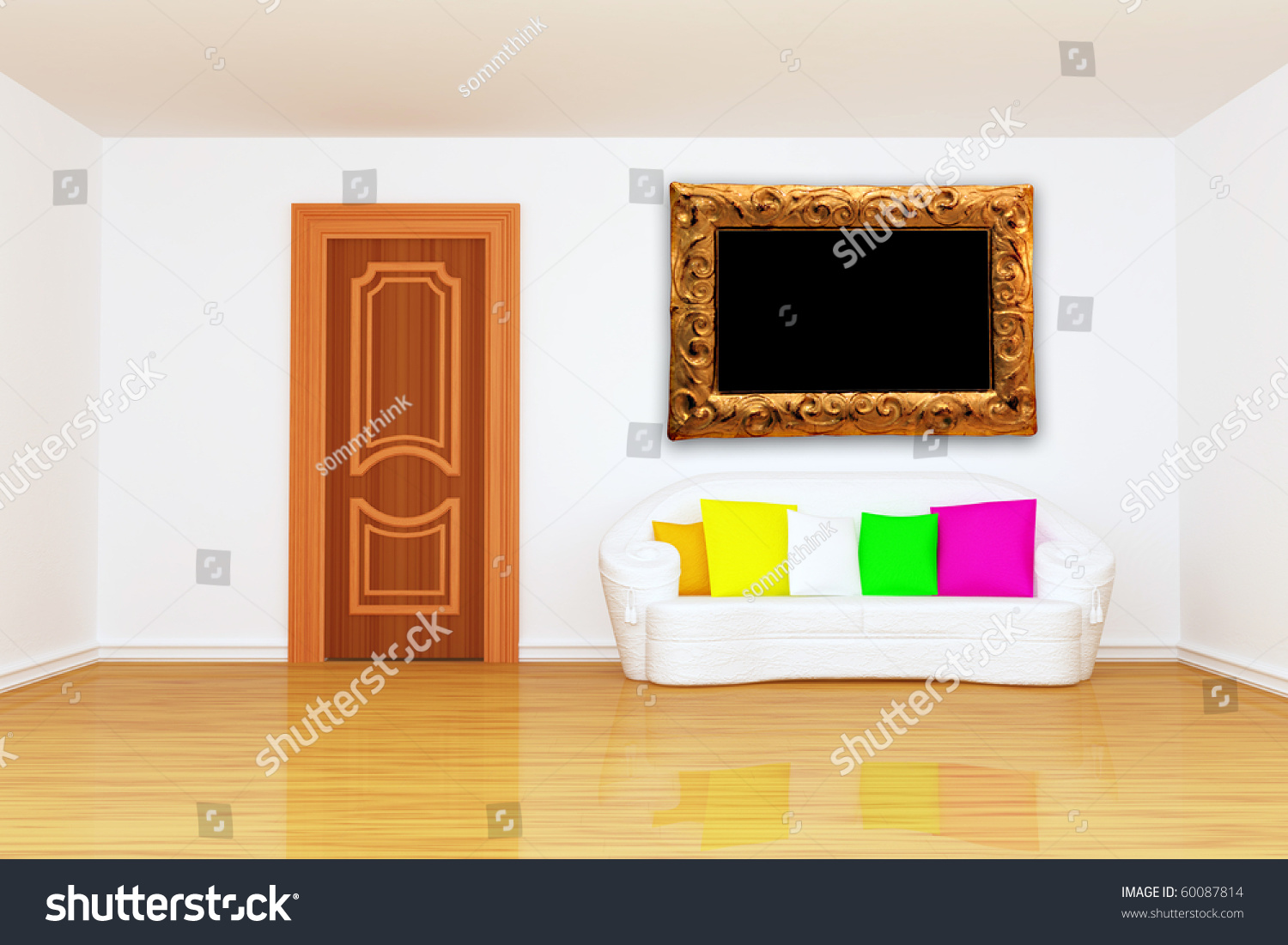 Minimalist Living Room Door White Couch Stock Illustration