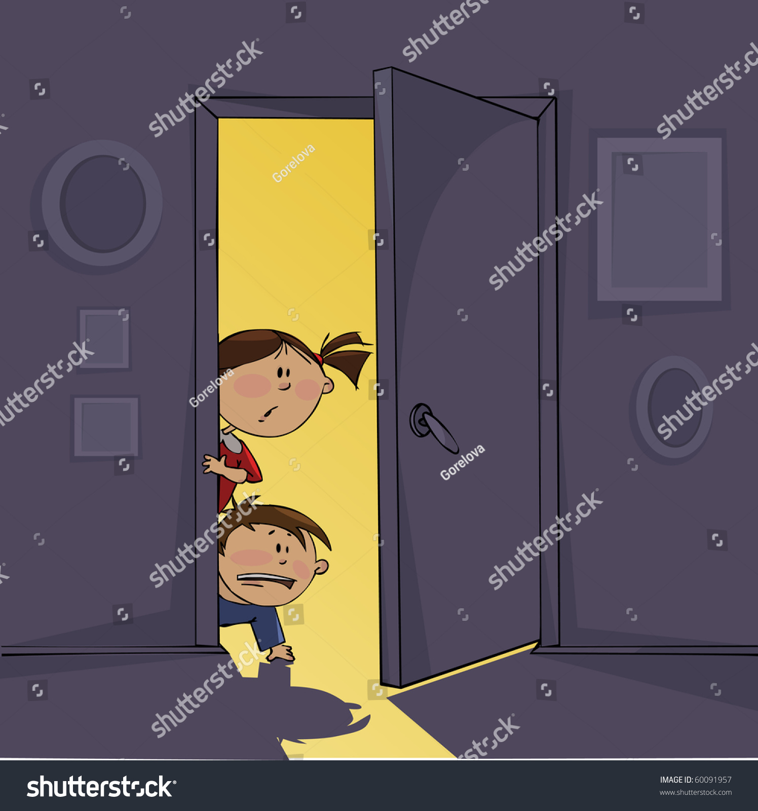 Dark Room Frightened Children Stock Vector 60091957