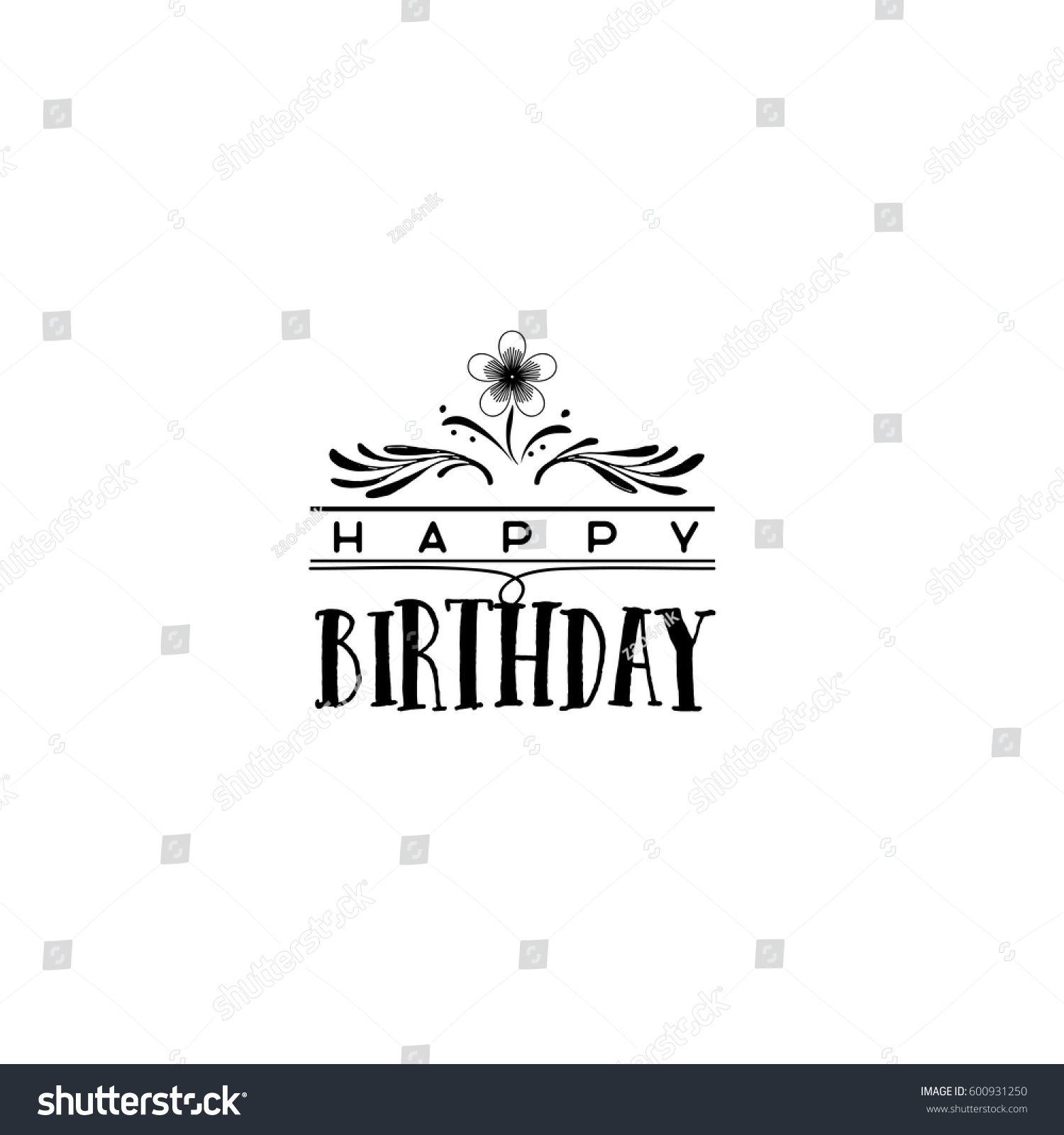 Happy birthday sign in elegant black script type with ornament - Badge As Part Of The Design Happy Birthday Sticker Stamp Logo For