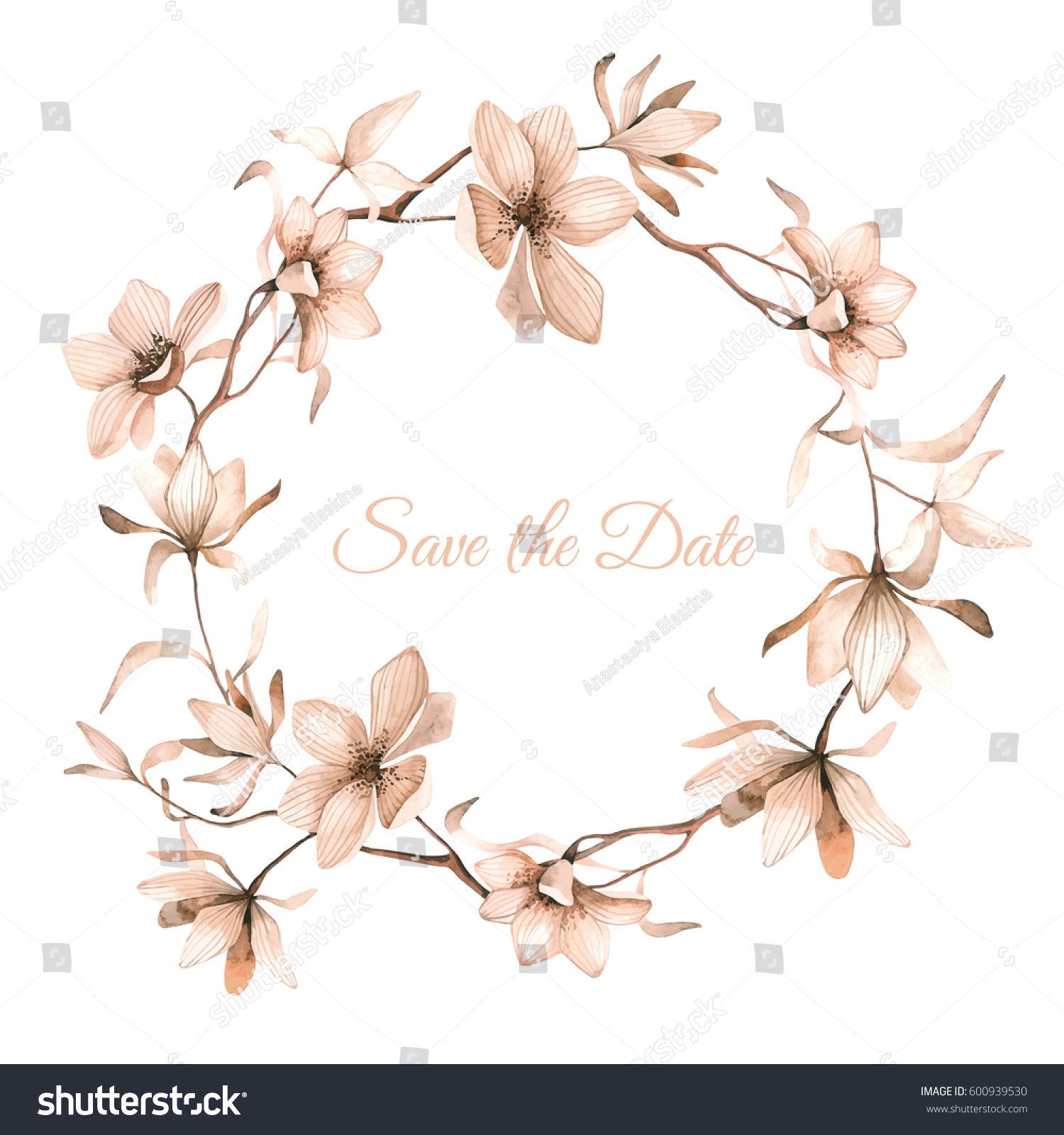 Watercolor Floral Frame Beautiful Flower Wreath Stock Vector ...