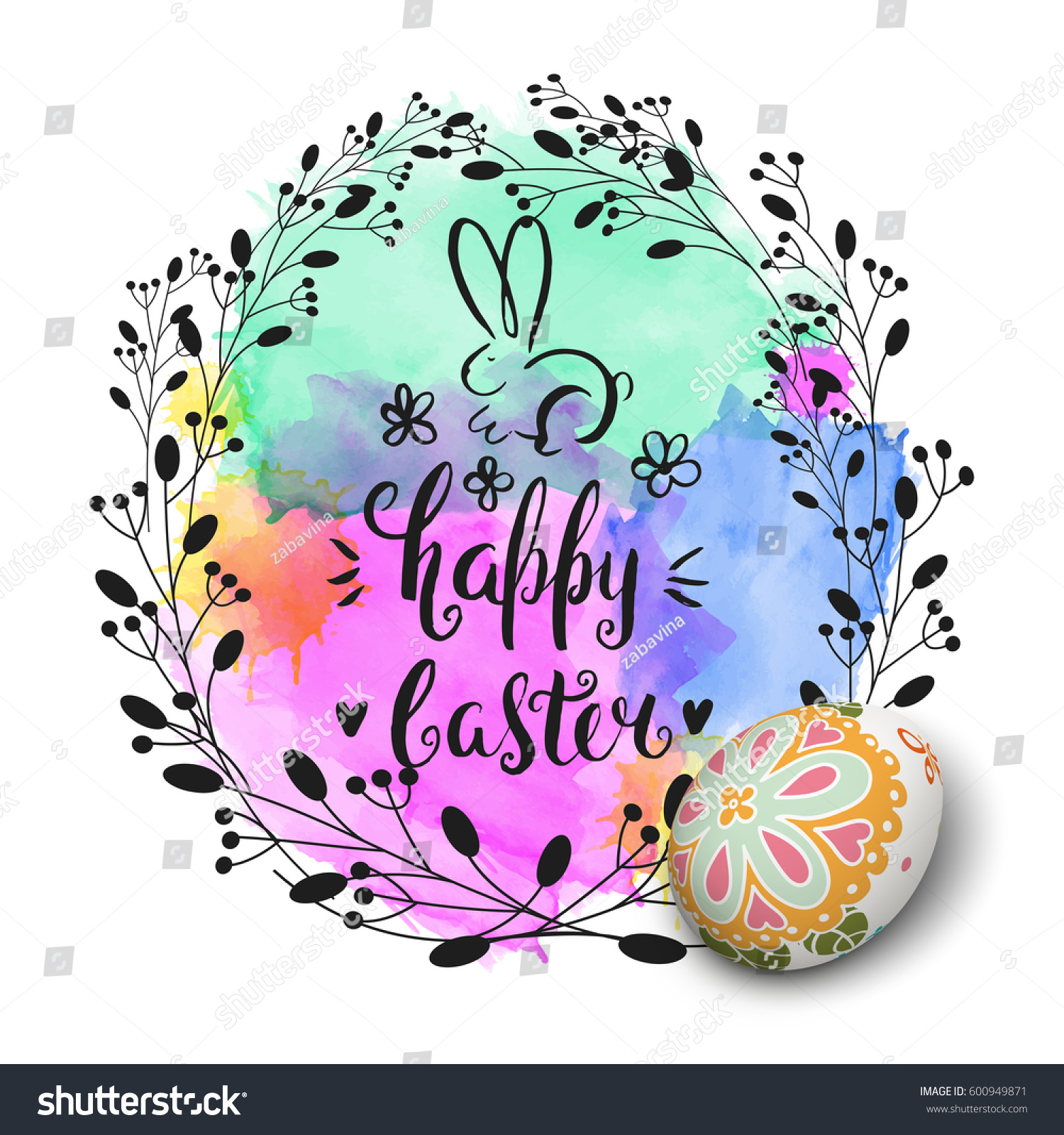 Vector handwritten inscription happy easter bunny stock