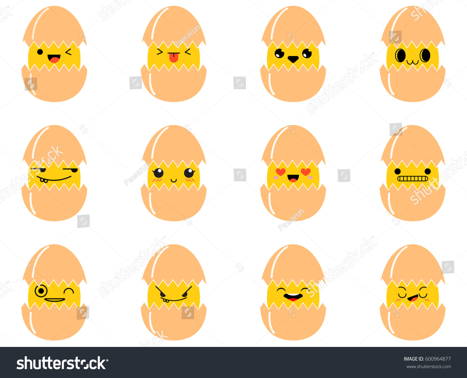Eggs cute emoji emoticons faces set stock vector 600964877 eggs cute emoji emoticons faces set buycottarizona Images