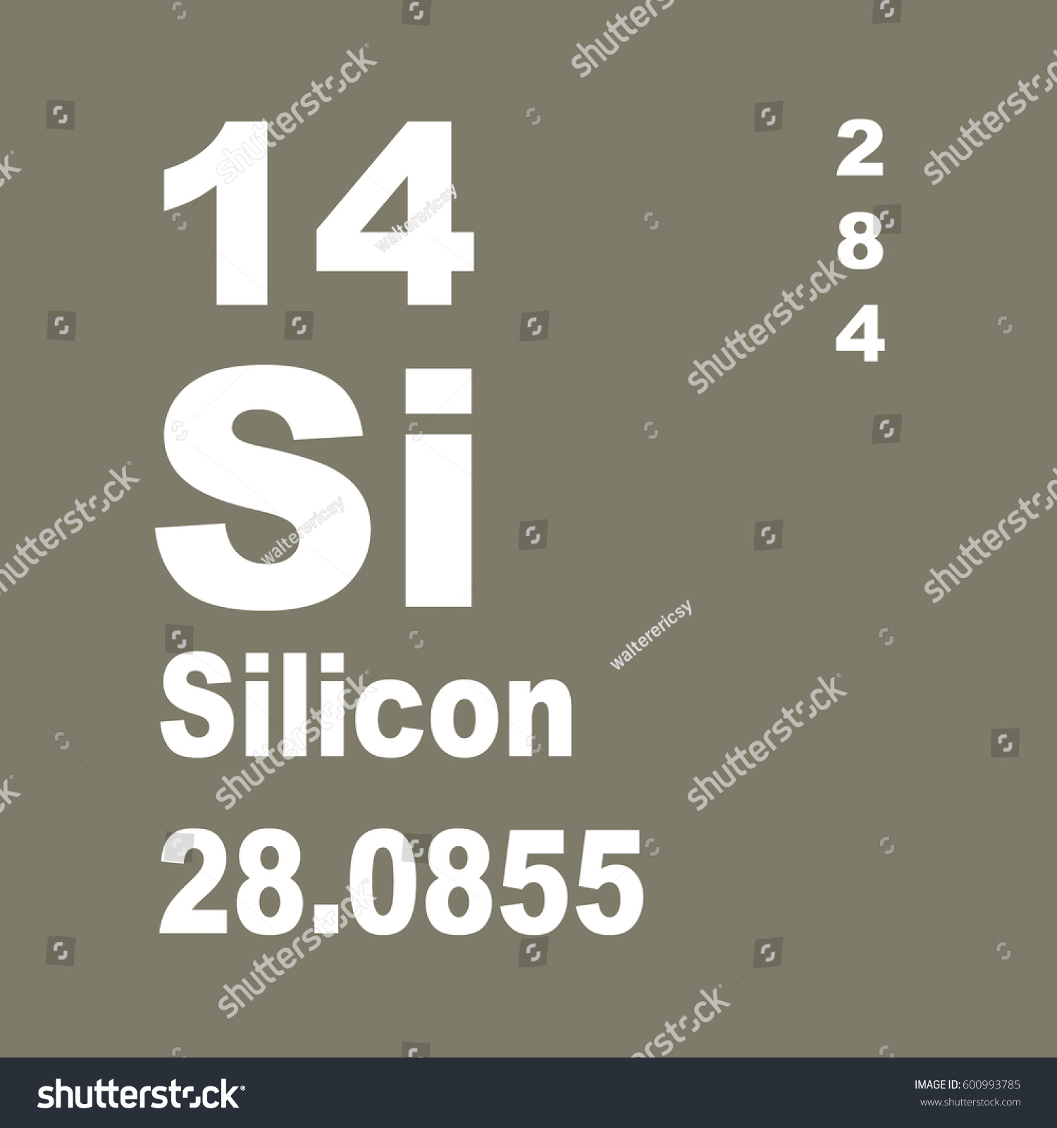 Silicon Periodic Table Elements Stock Illustration 600993785