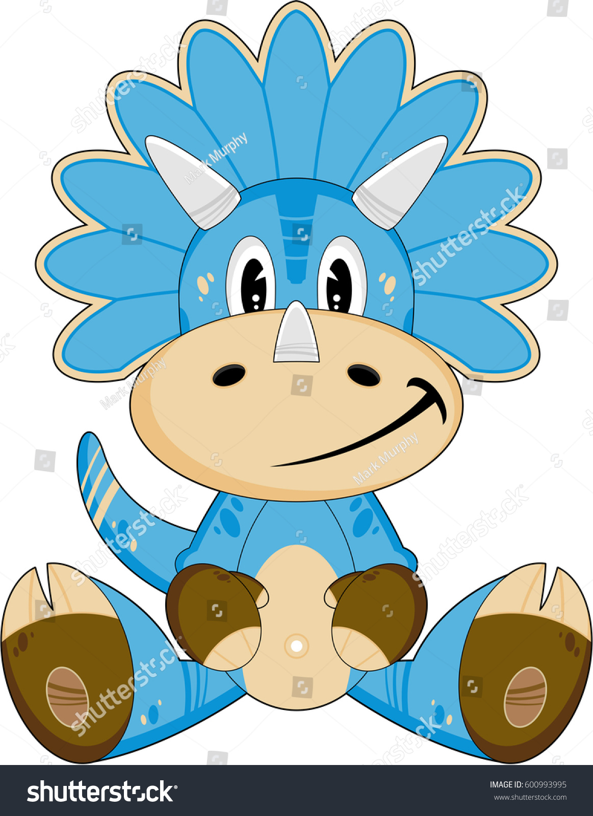 cute cartoon triceratops dinosaur stock vector 600993995