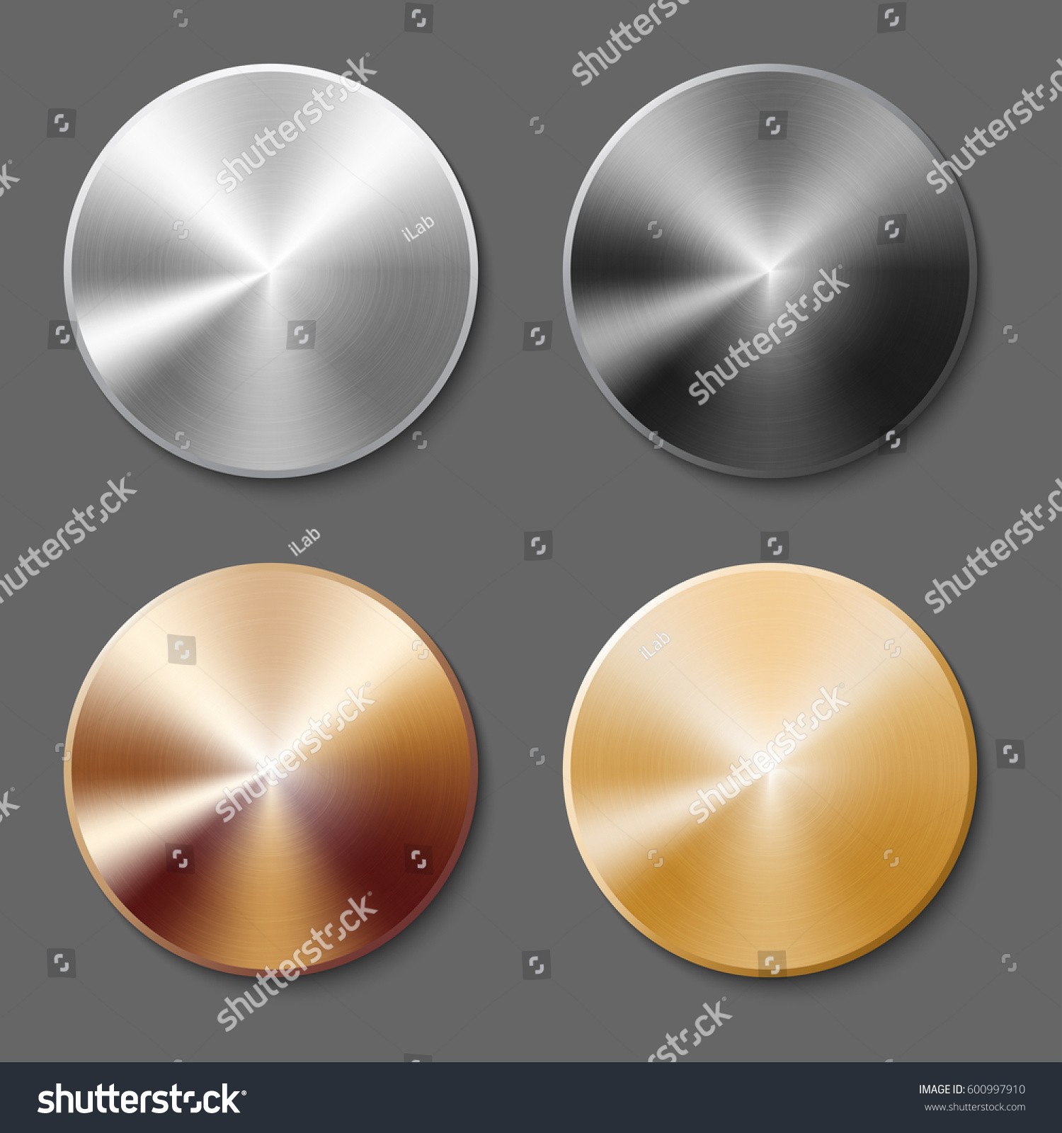 Set Round Templates Metal Button Gold Stock Photo (Photo, Vector ...