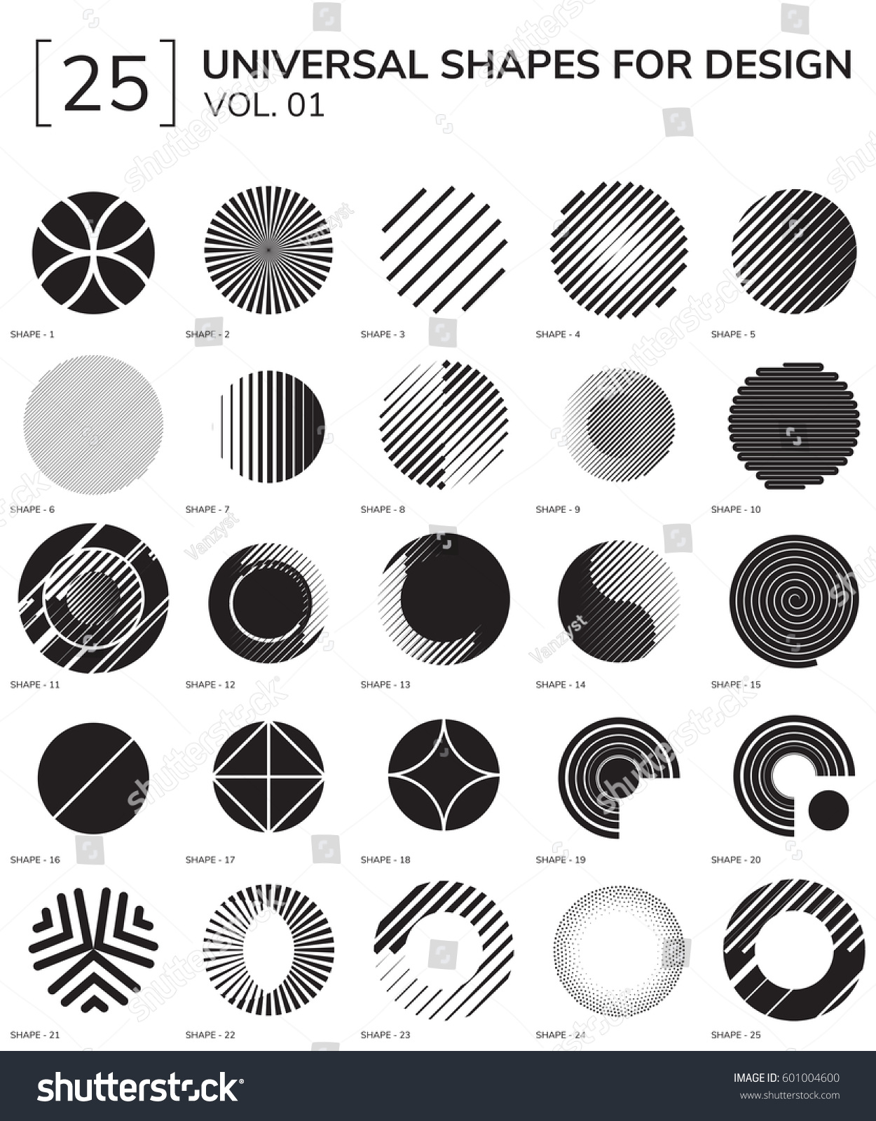set 25 universal geometric shapes design stock vector (royalty free