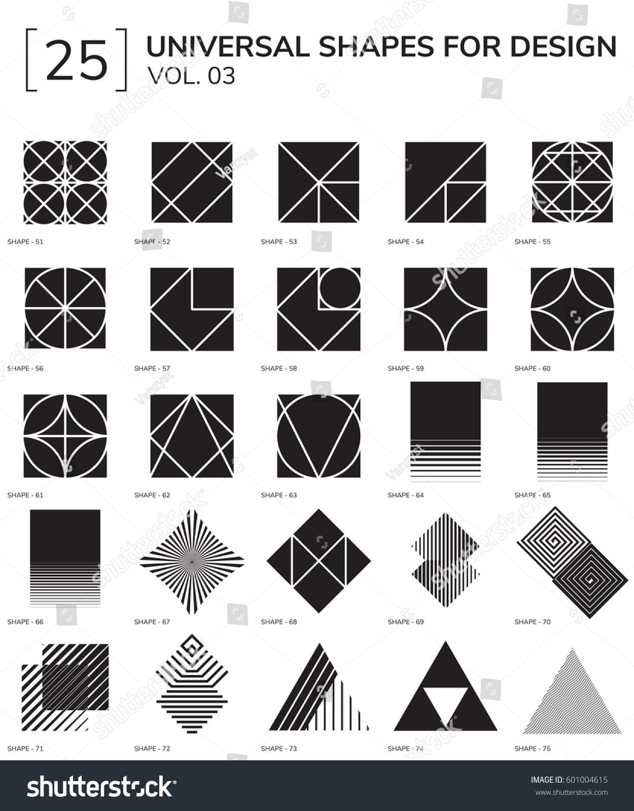 Set 25 Universal Geometric Shapes Design Stock Vector 601004615 ... for Geometric Shapes Design Black And White  183qdu
