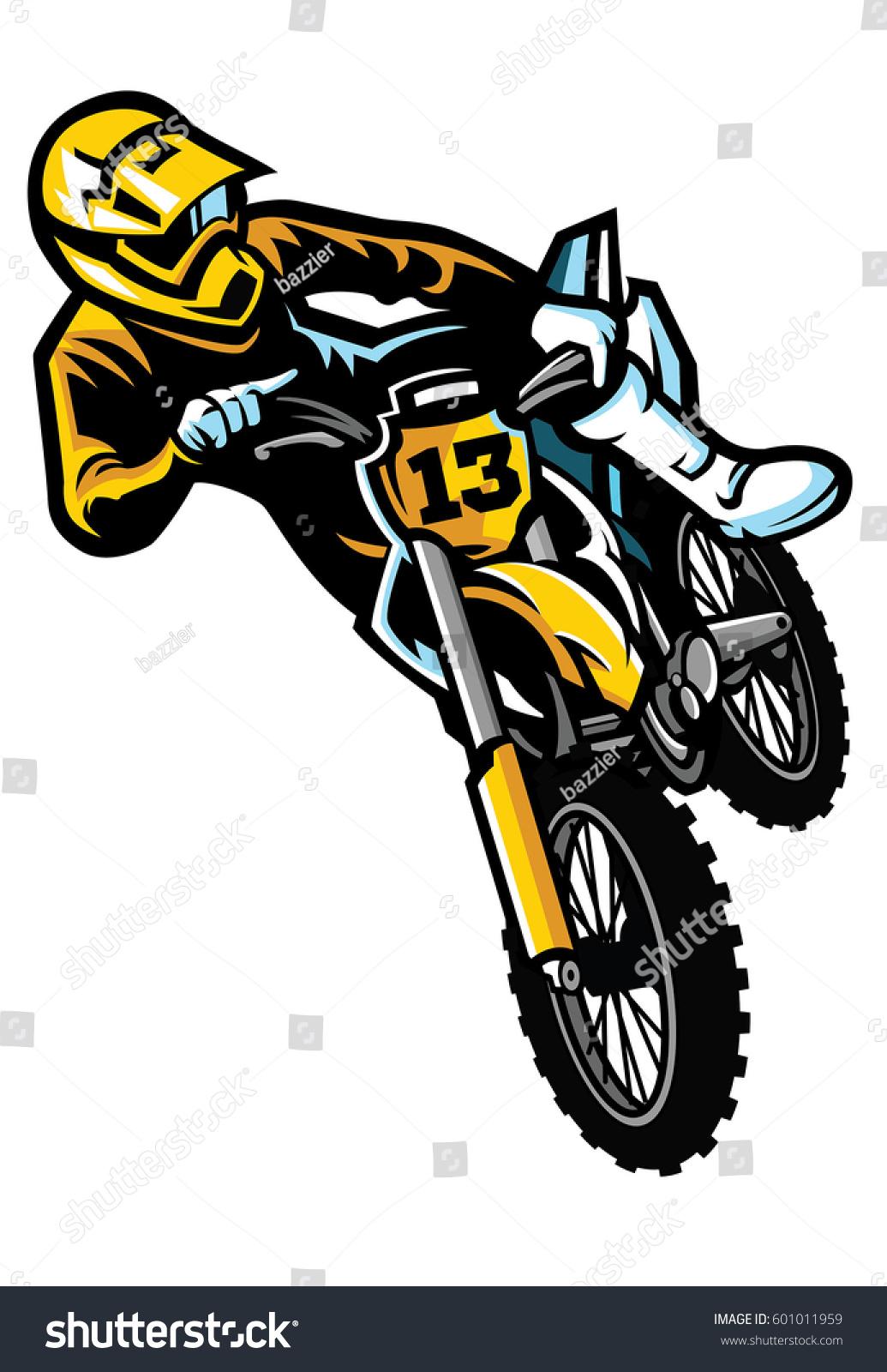 Motocross Rider Act Stock Vector Royalty Free
