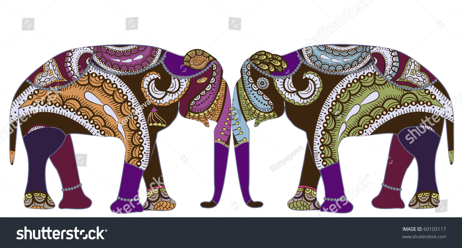 Patterned elephants ethnic style symbol love stock vector 60103117 patterned elephants in ethnic style is a symbol of love and family buycottarizona Images