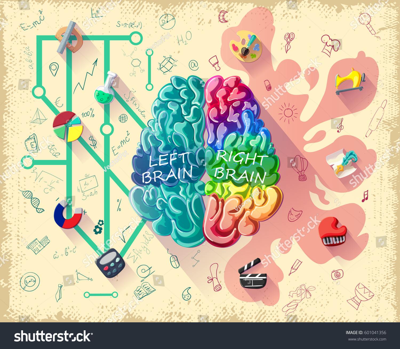 Vecteur clipart de main sur 201 cologie conscience image concept - Cartoon Human Brain Diagram Concept Left Stock Vector 601041356 Cartoon Human Brain Diagram Concept With Left