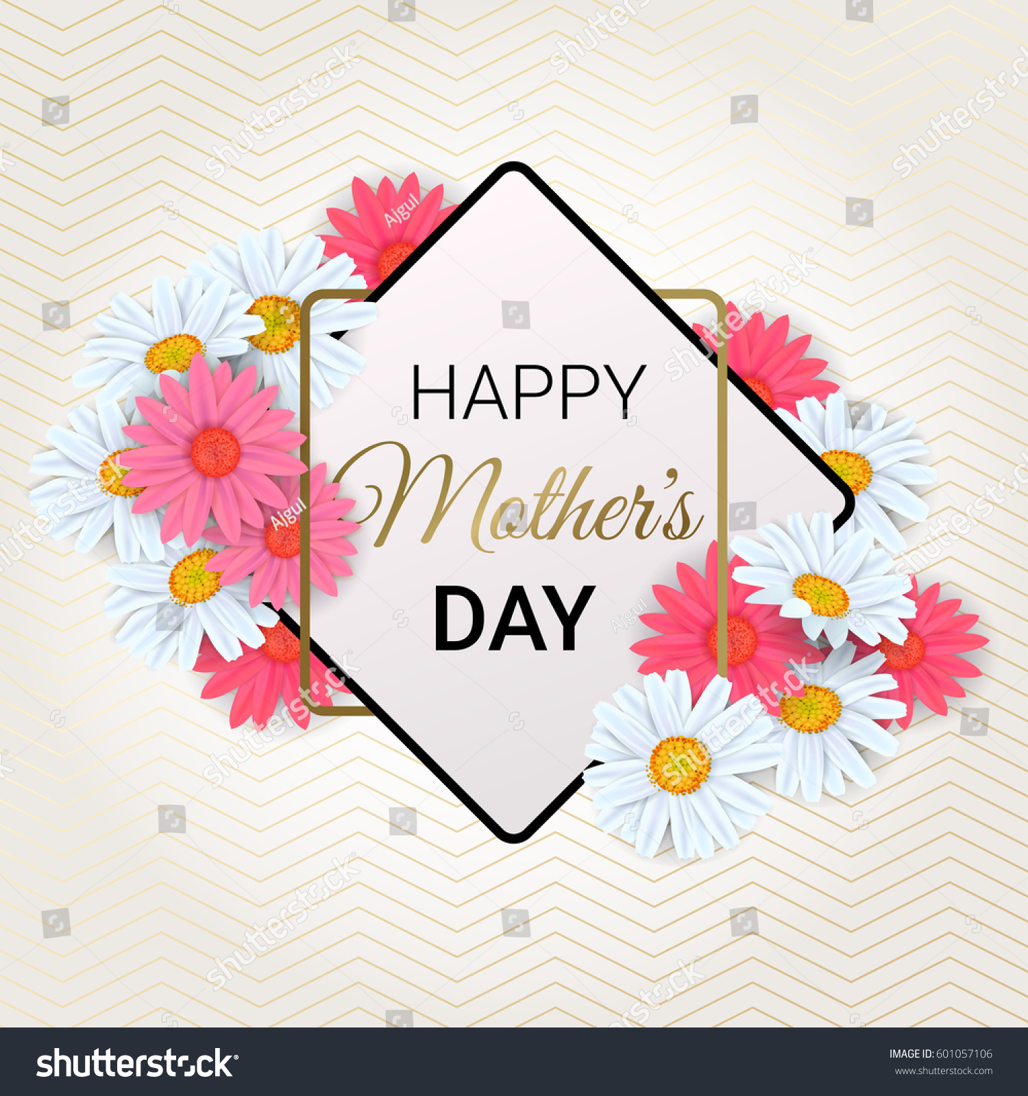 Creative Floral Flyer Of Happy Mothers Day Template For: Mothers Day Background Beautiful Daisy Flowers Stock
