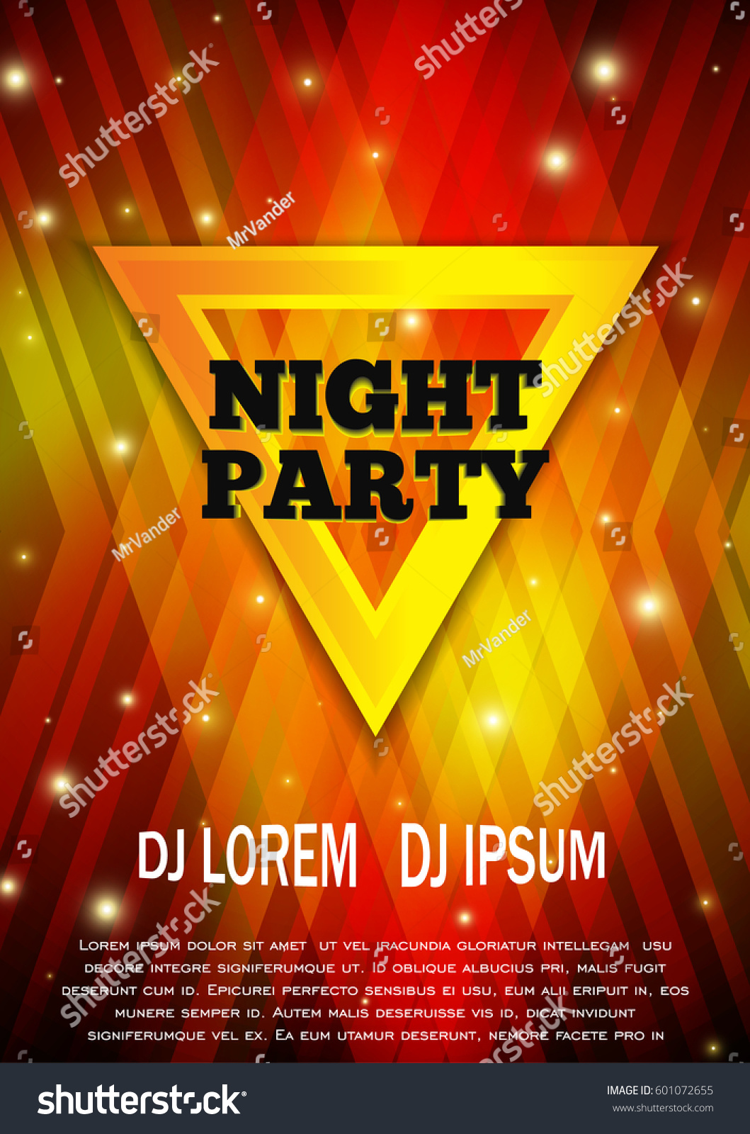 Night Party Flyer Template Club Vector Stock Vector 601072655 ...