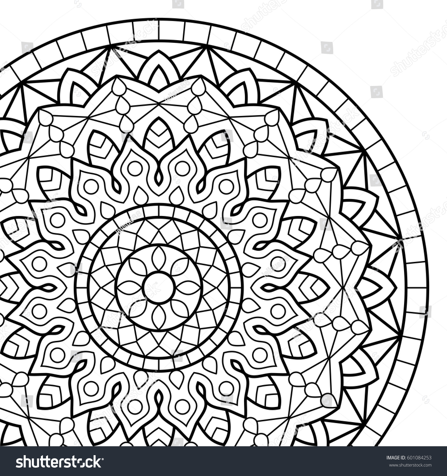 coloring book pages mandala indian antistress stock vector