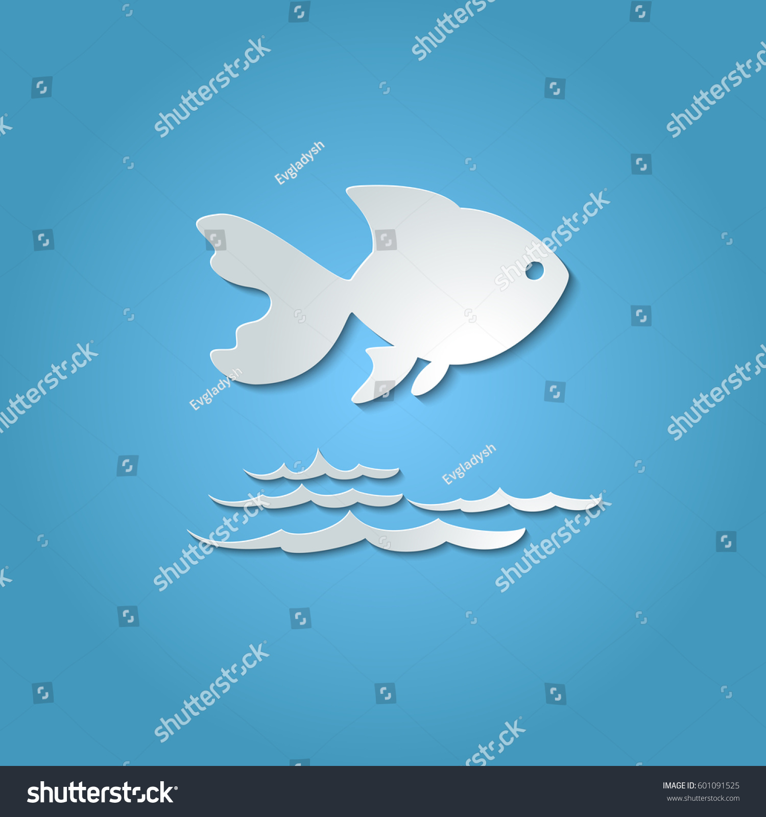 paper cutout fish shadow on blue stock vector 601091525 shutterstock