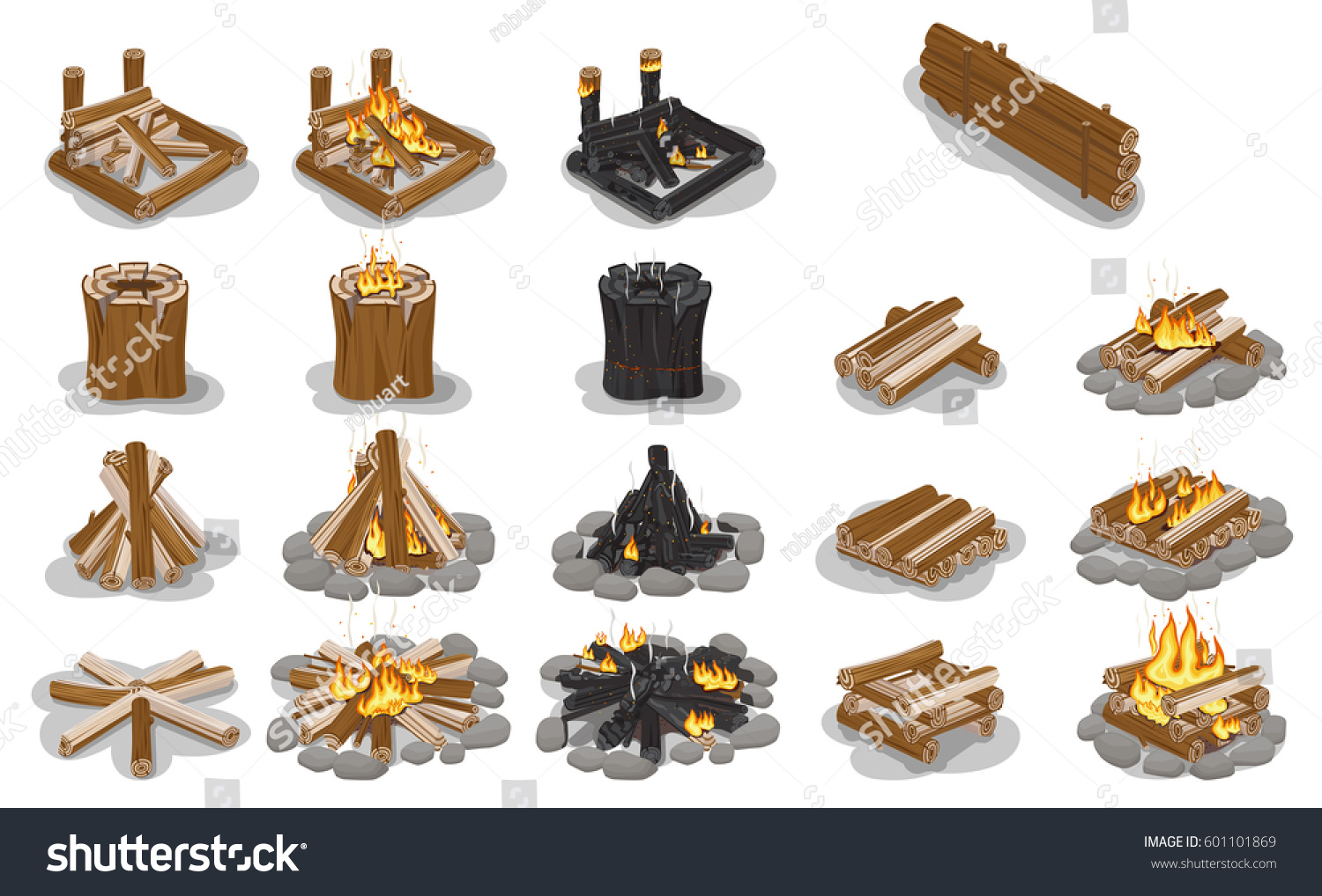 Tourist Campfire Types Collection Flame On Stock Vector (Royalty Free)  601101869