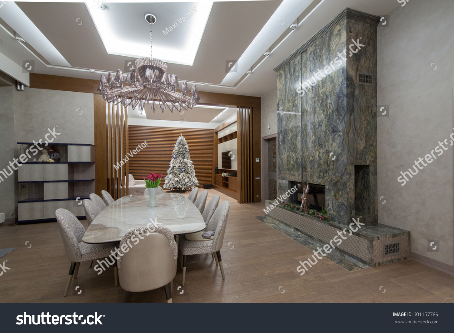 Luxurious Dining Room Large Dining Table Stock Photo Edit Now 601157789