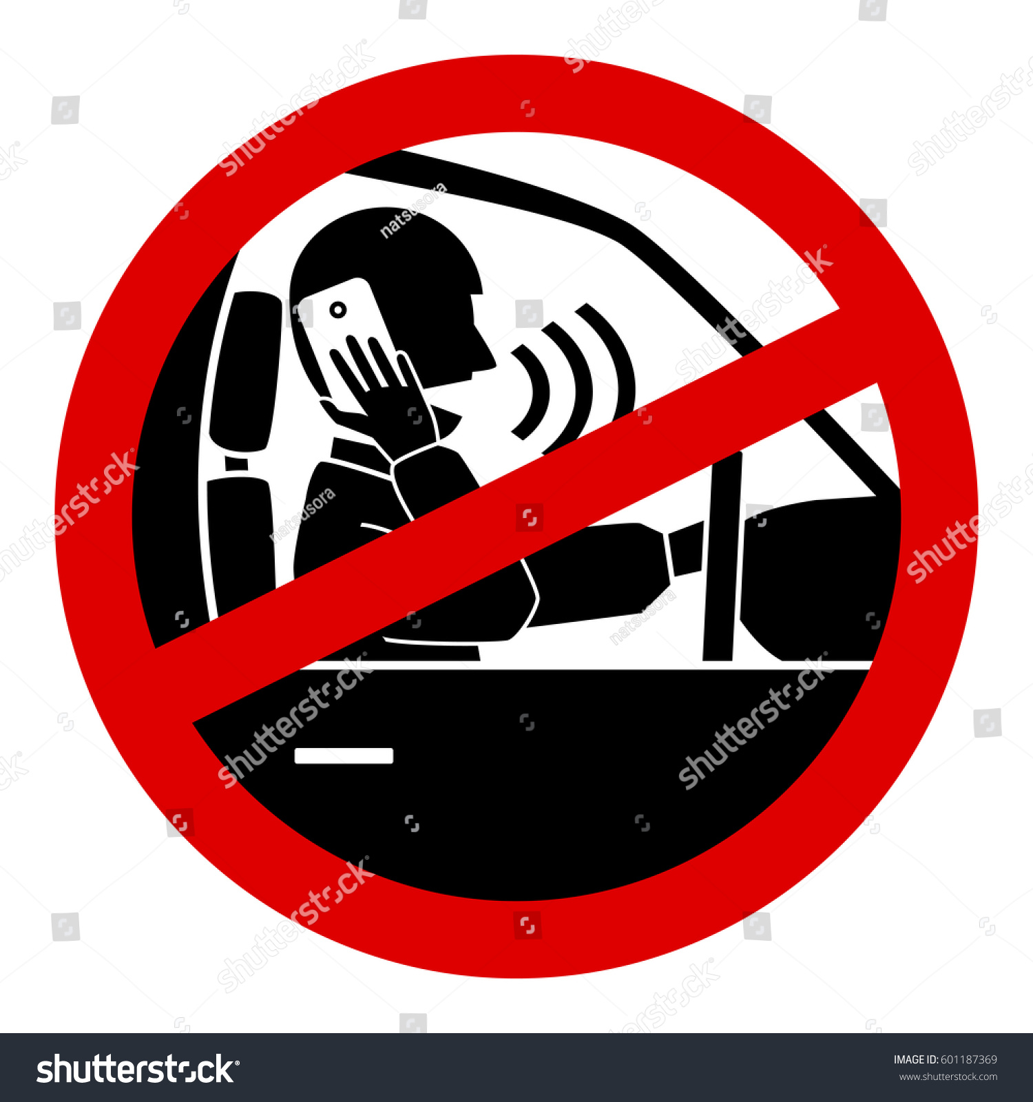 No Cell Phones Use While Driving Warning Sign Sticker